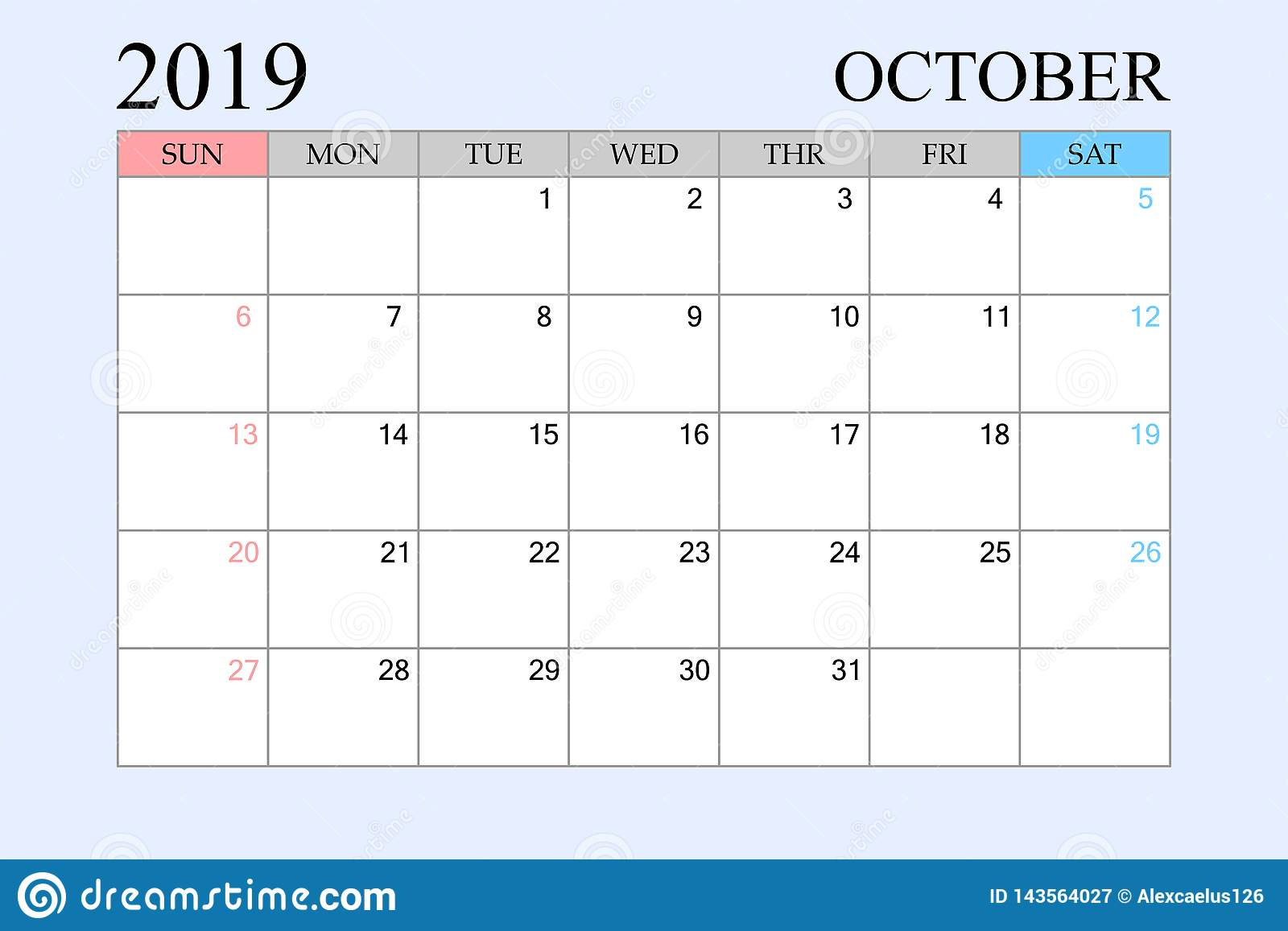 2019 Calendar, October, Schedule Planner, Organizer, Weeks