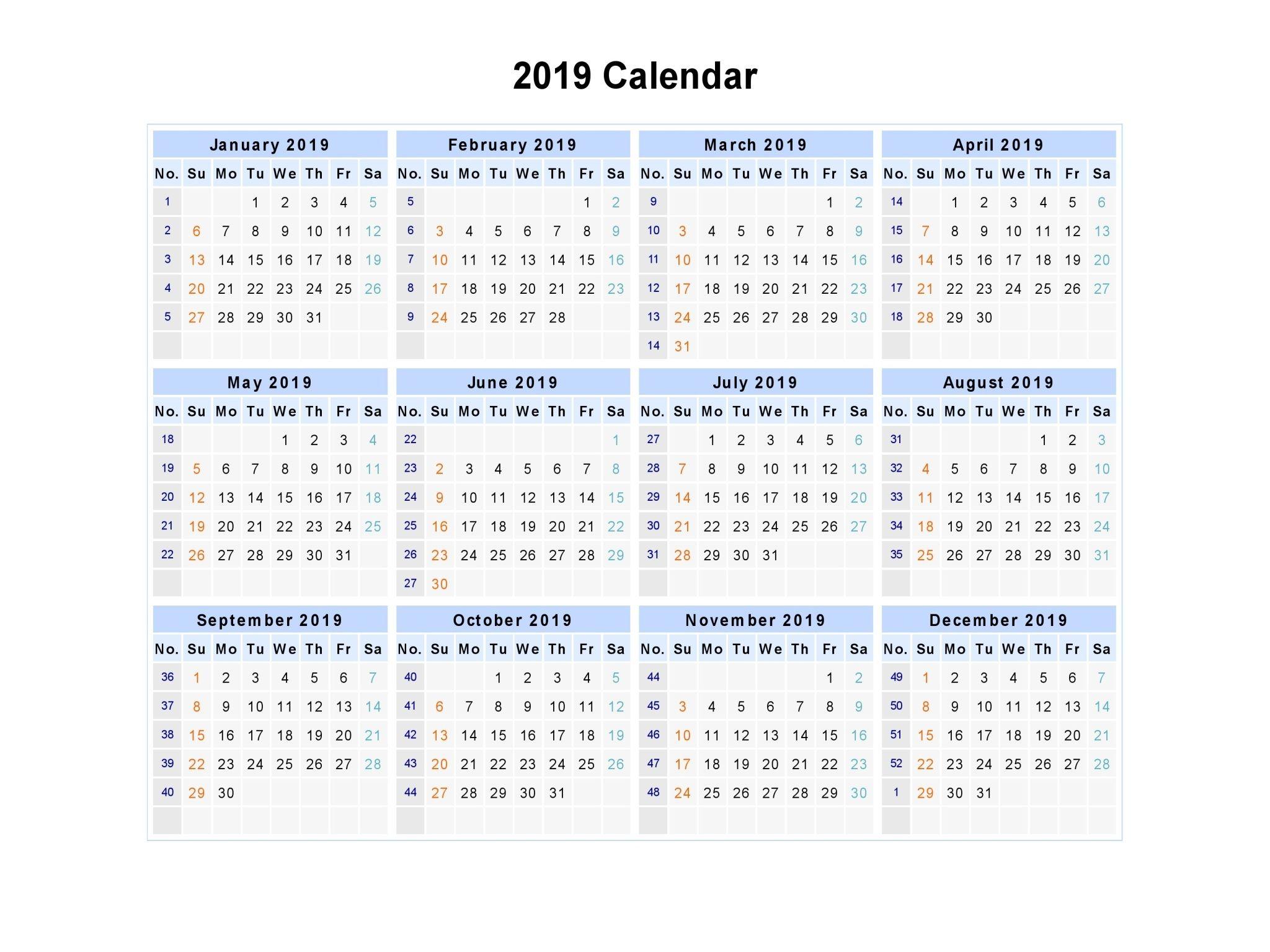 2019 Calendar Printable Australia #2019Calendar
