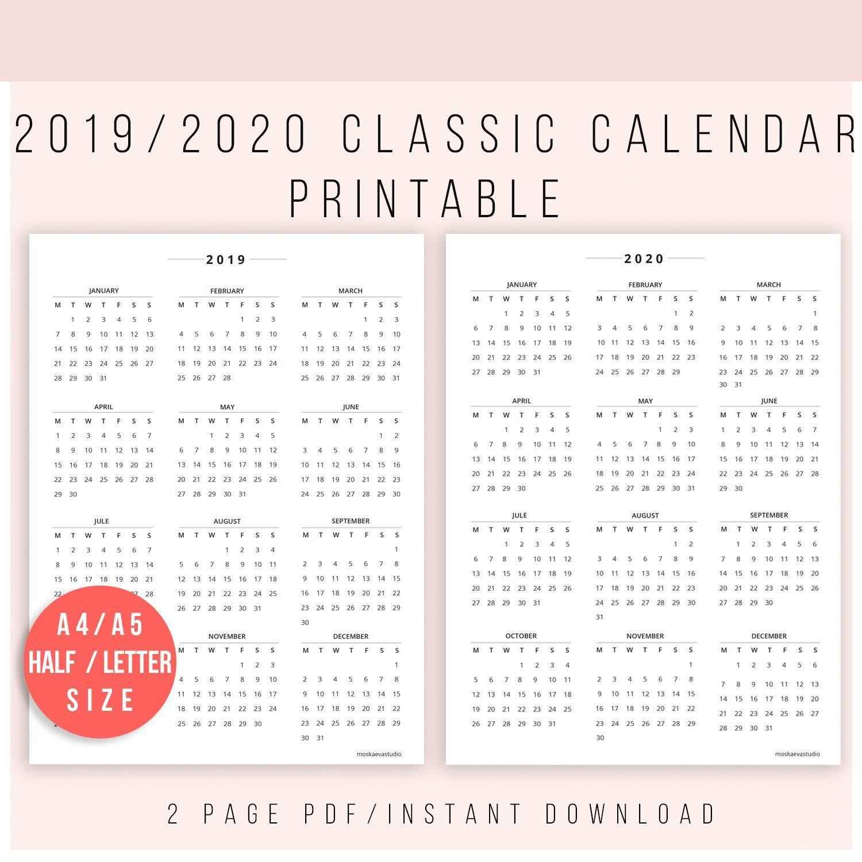 2019 Calendar Printable | Calendar 2020 | Calendar Print