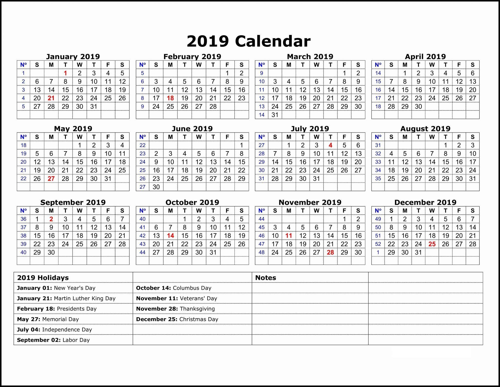 2019 Calendar Template One Page | Calendar 2019 Template