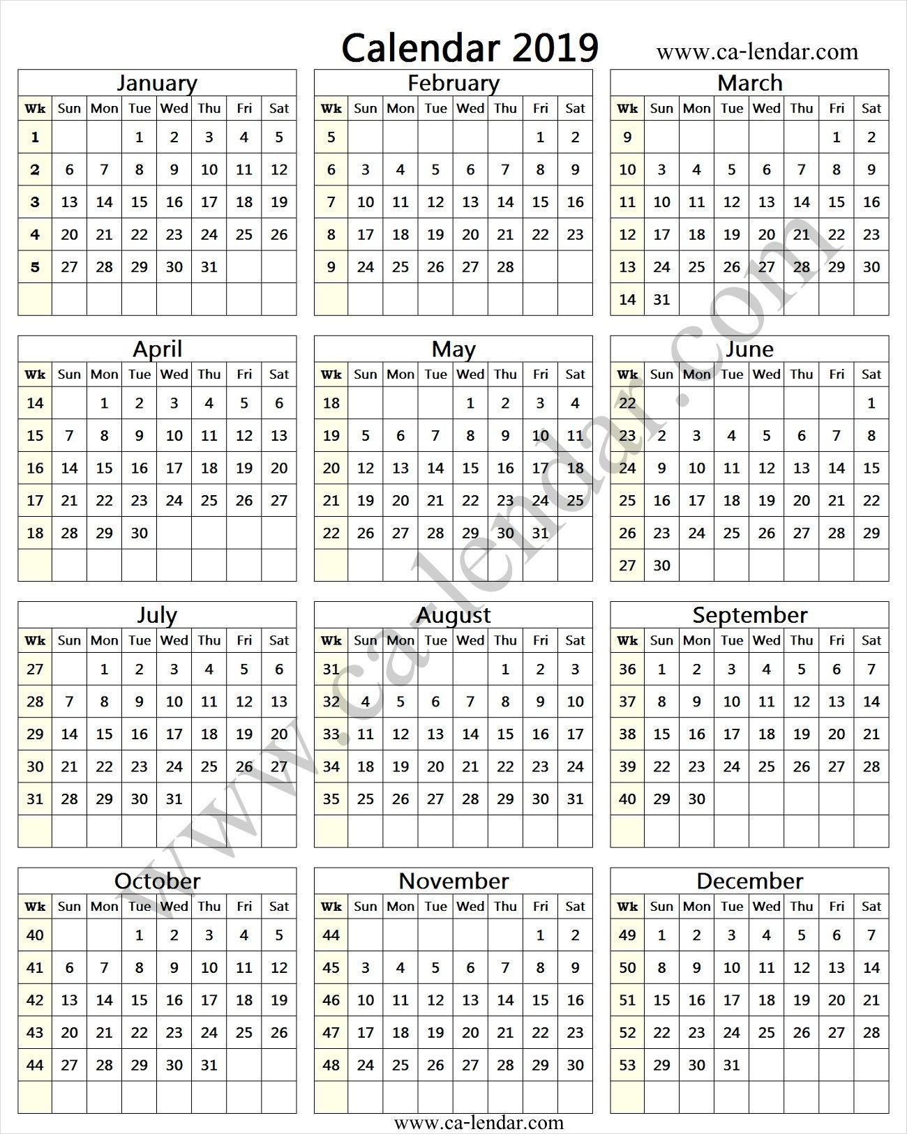 2019 Calendar With Week Numbers   Tony   Calendar With Week