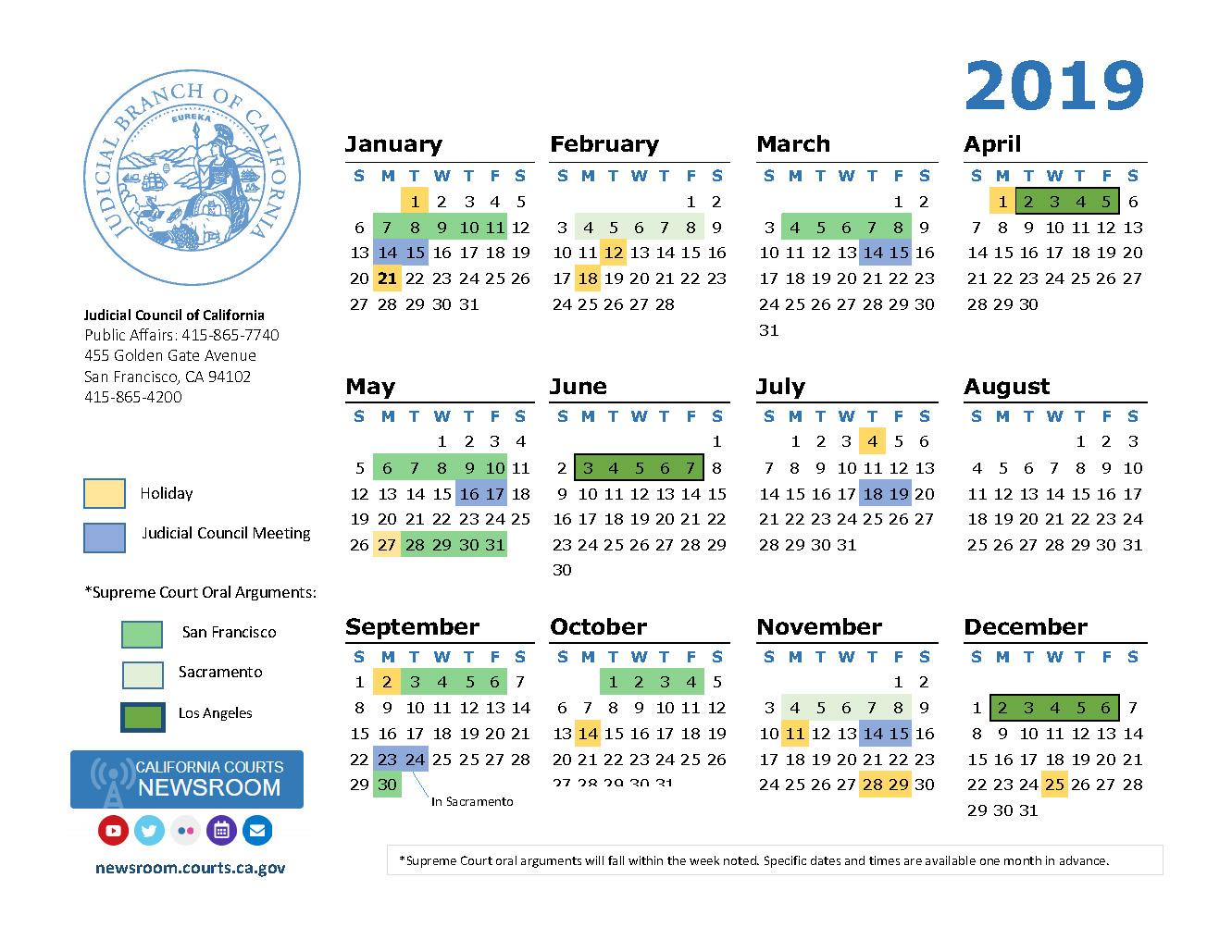 2019 California Courts Calendar | California Courts Newsroom