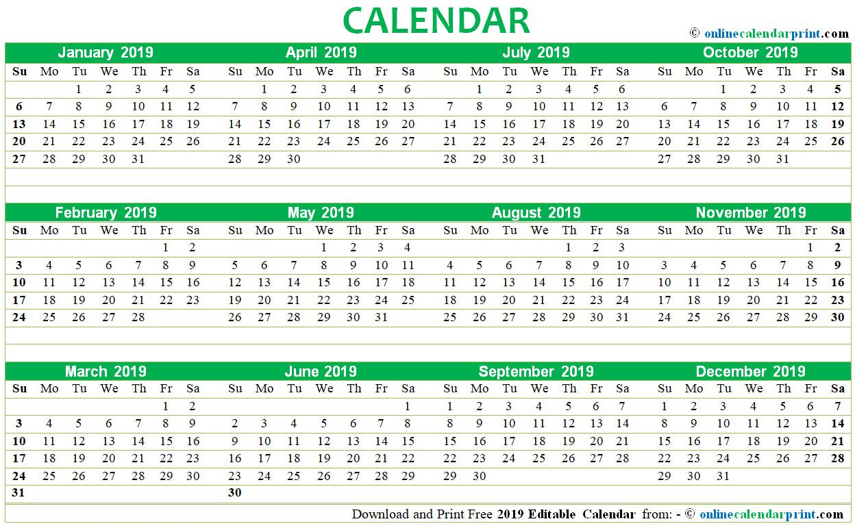 2019 Editable Calendar Printable Template | Monthly Calendar