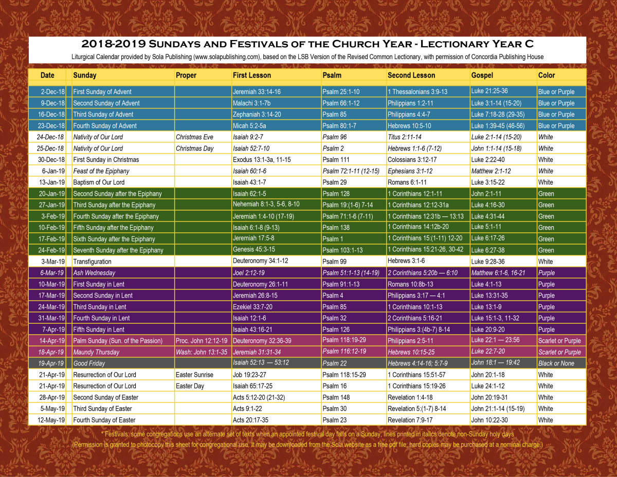 2019 Liturgical Calendar (Year C) K-2019 | Sola Publishing