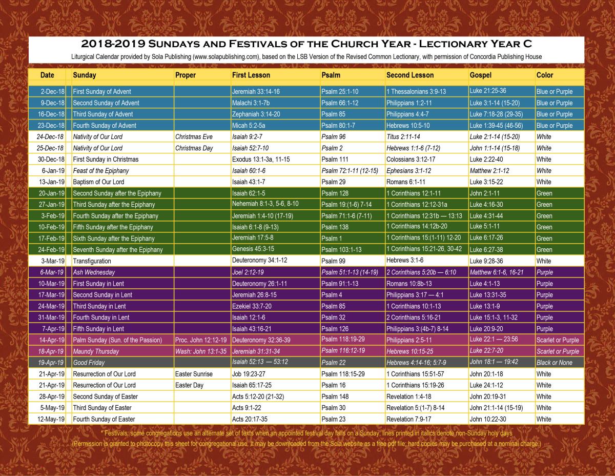 2019 Liturgical Calendar (Year C) K-2019   Sola Publishing