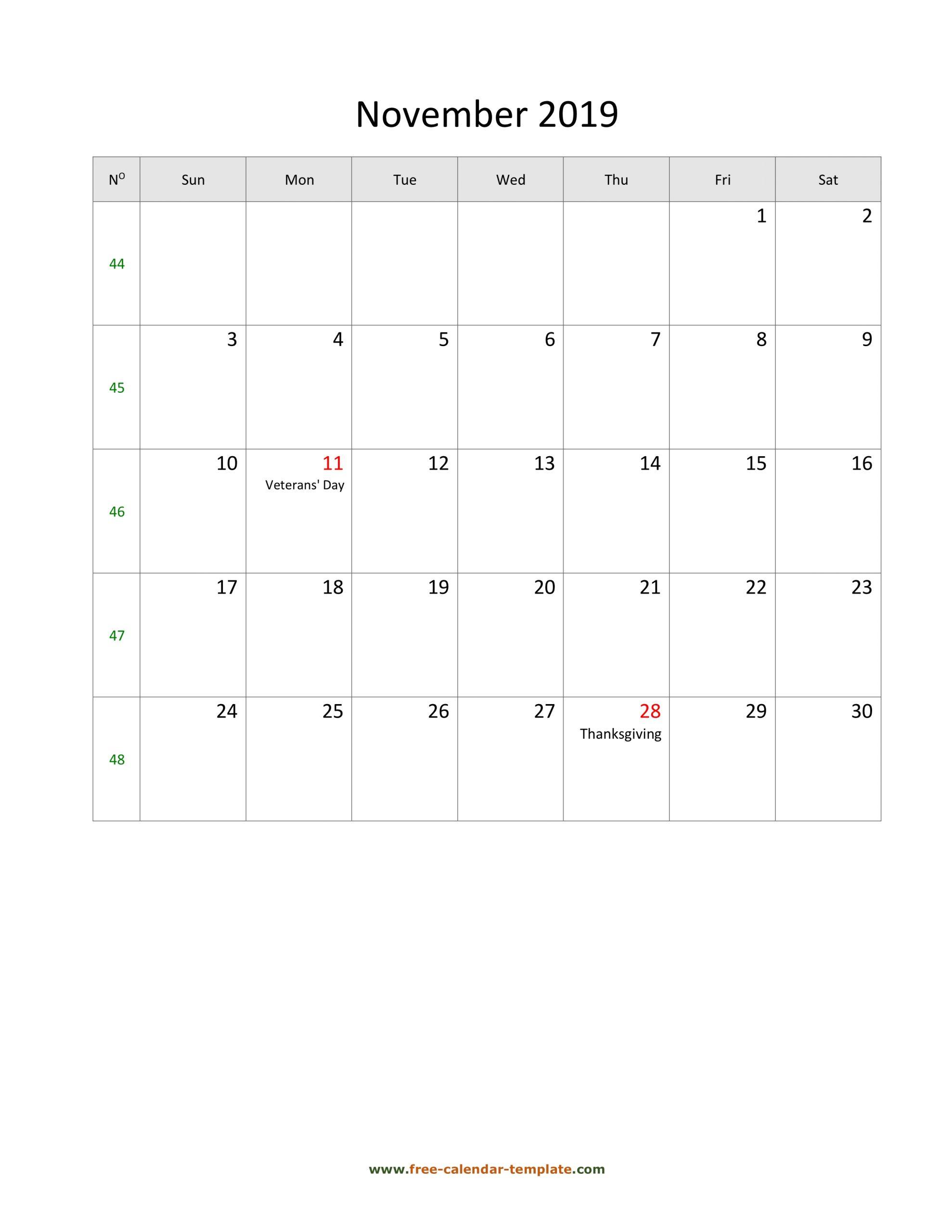 2019 November Calendar (Blank Vertical Template) | Free