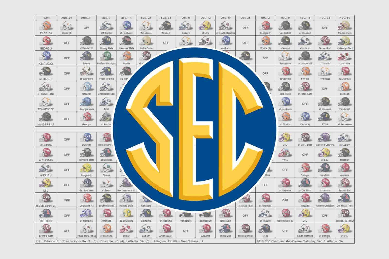 2019 Sec Football Helmet Schedule