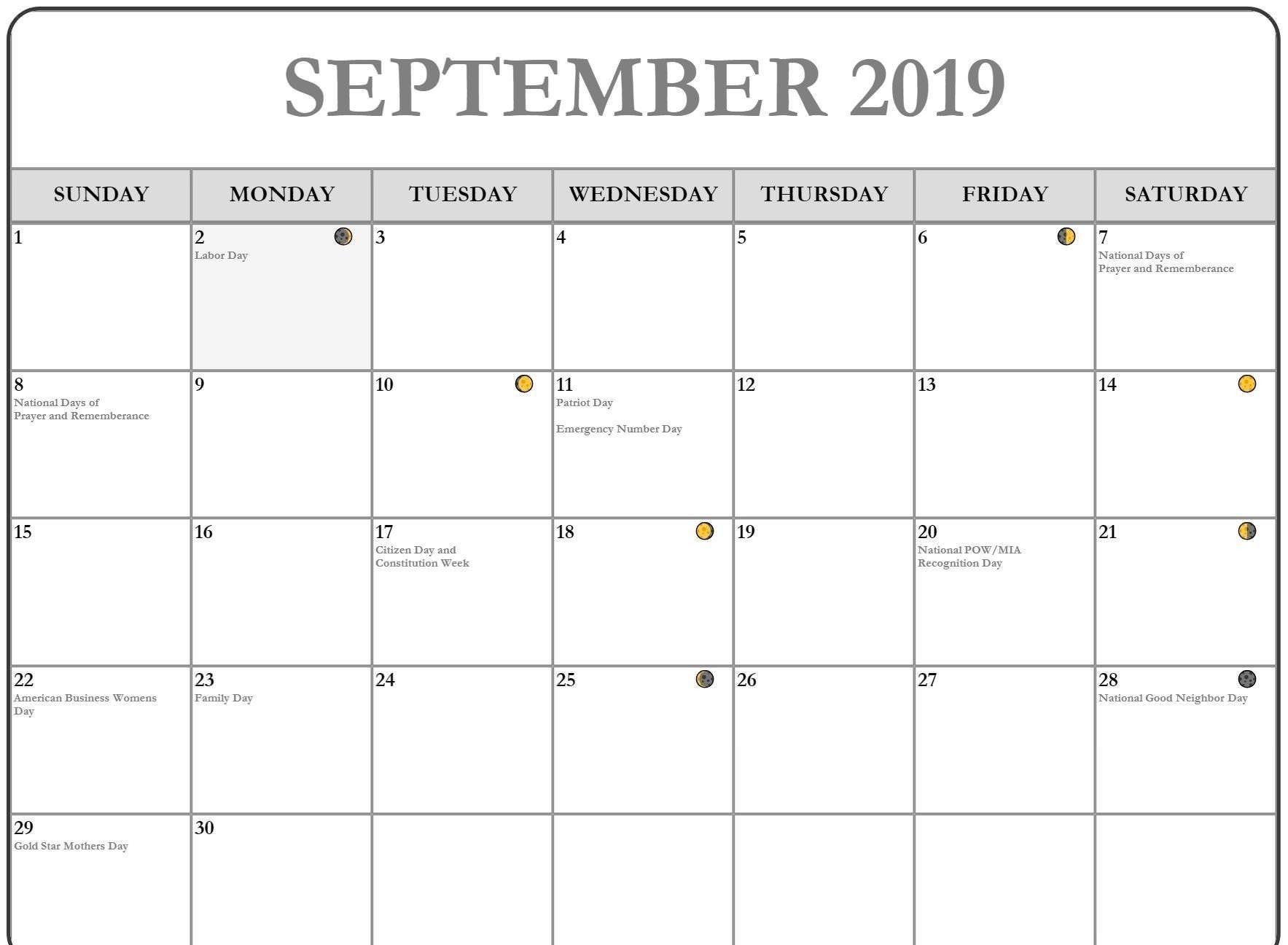 2019 September Moon Phases Calendar | Moon Phase Calendar