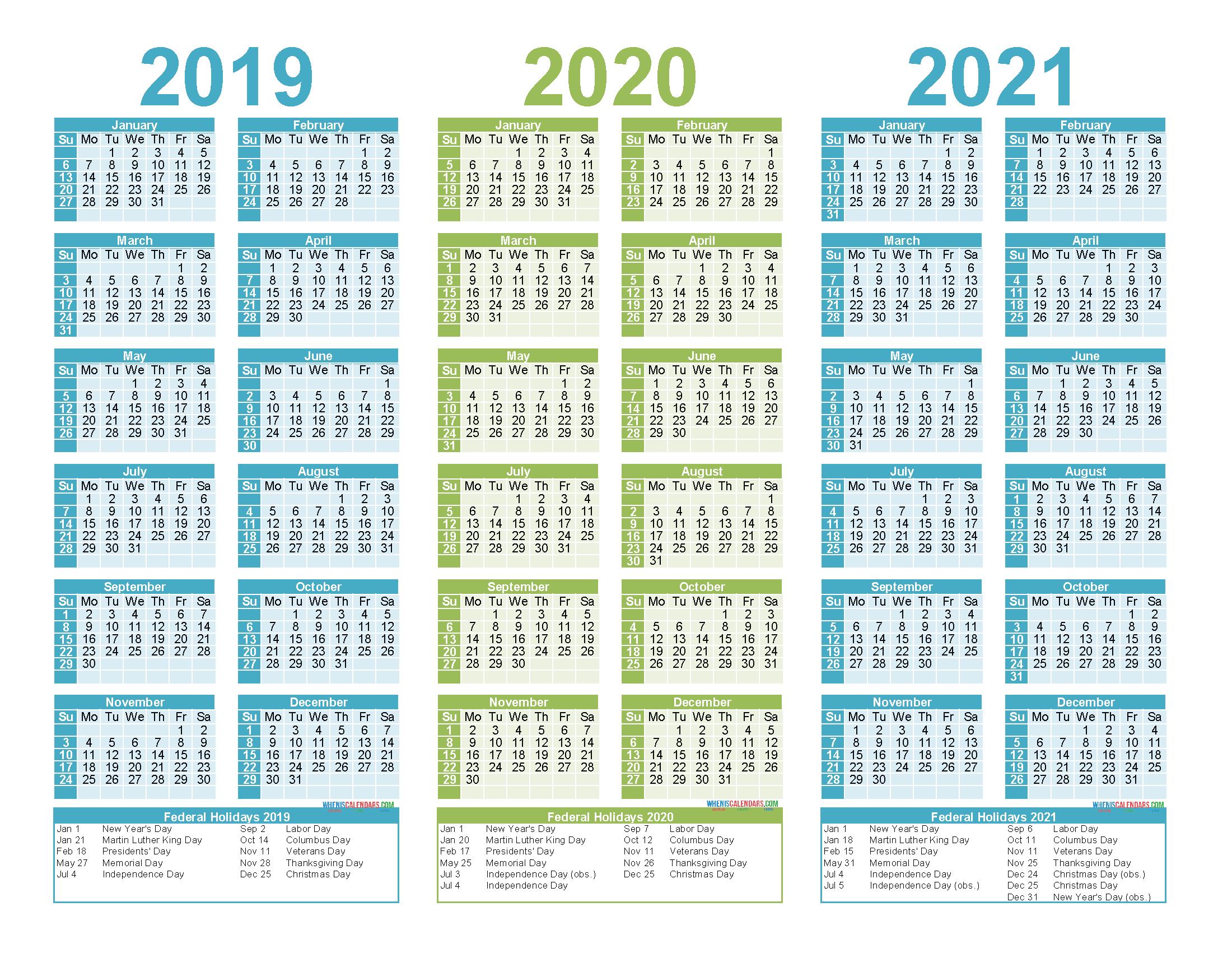 2019 To 2021 3 Year Calendar Printable Free Pdf, Word, Image