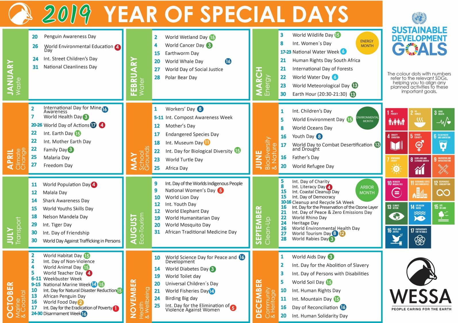 2019 Wessa Special Day Calendar – Wessa