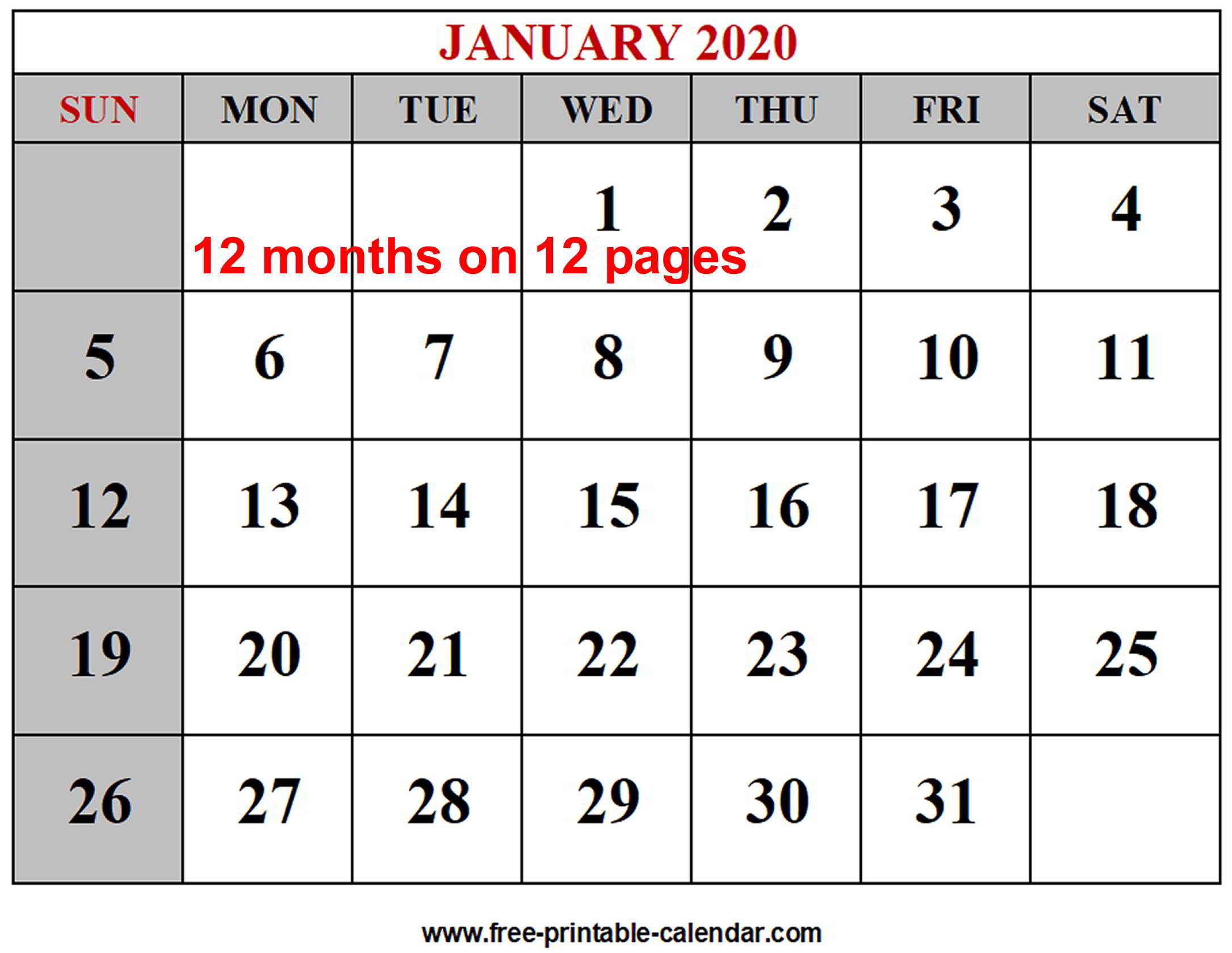 2020 12 Month Calendar Template - Togo.wpart.co