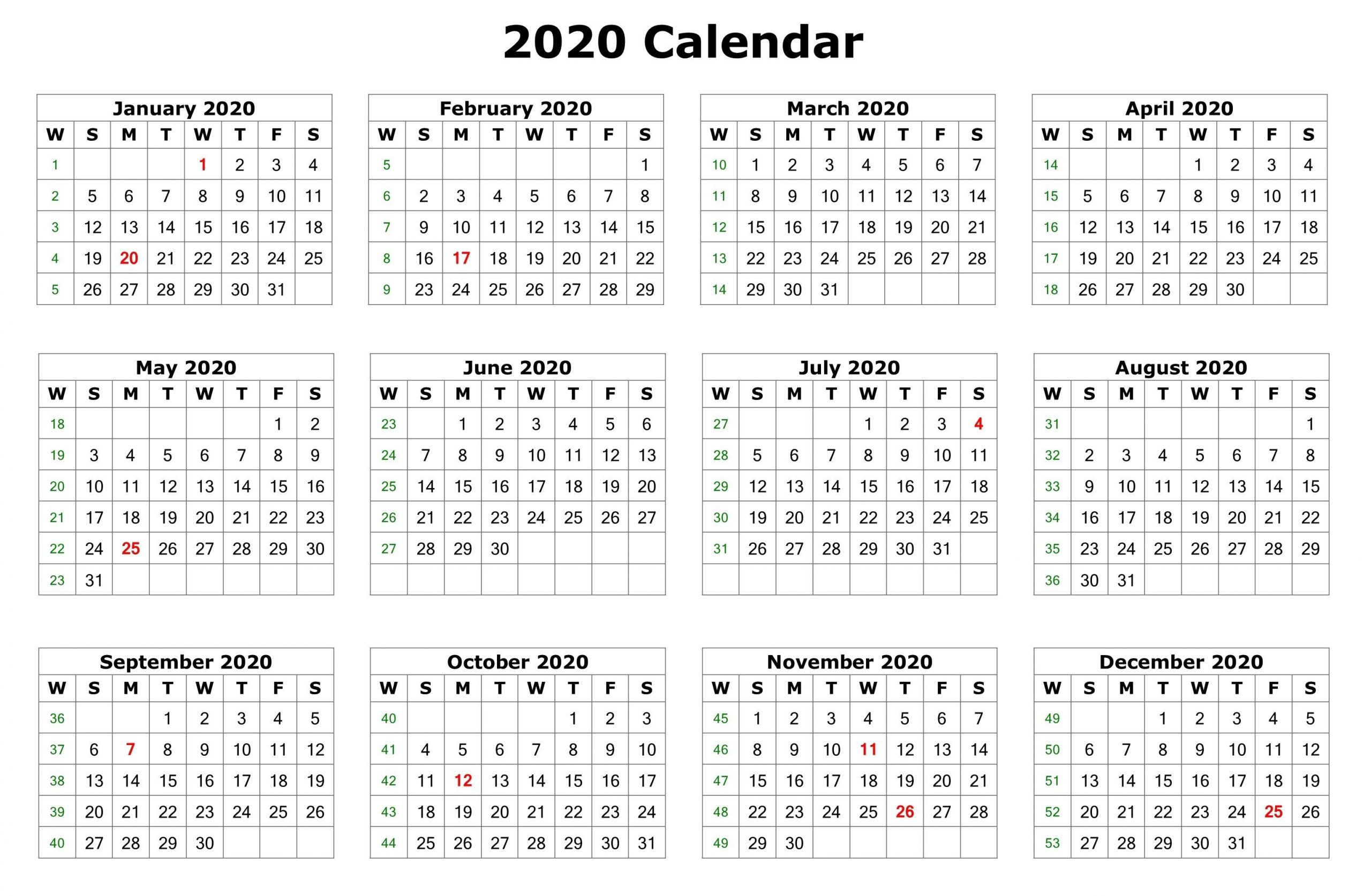 Take 12 Month 2020 Printable Calendar Downloadable
