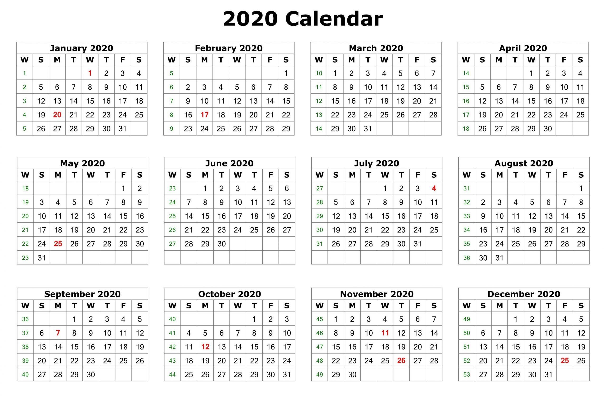 2020 12 Months Calendar Printable | Printable Calendar 2020