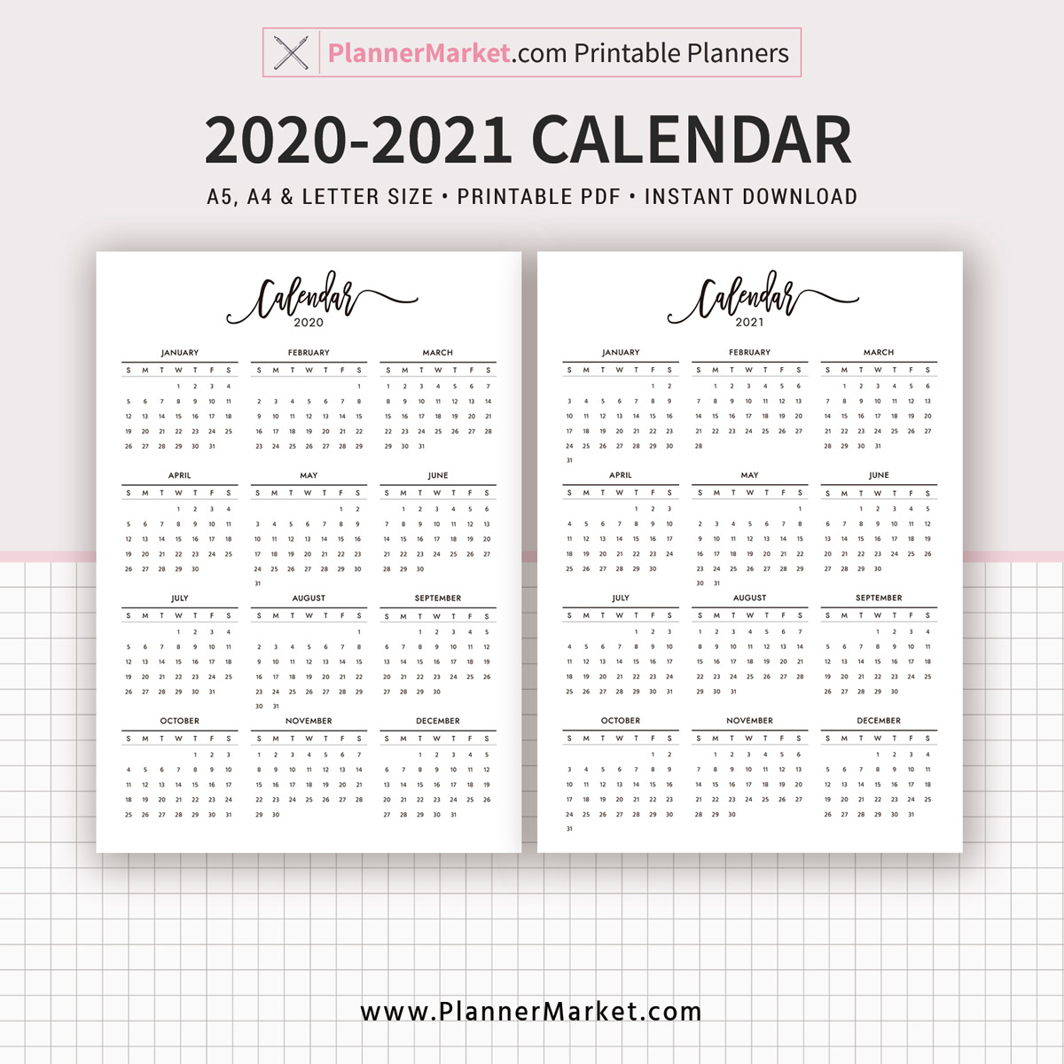 2020-2021 Calendar Printable, Year At A Glance, Filofax A5