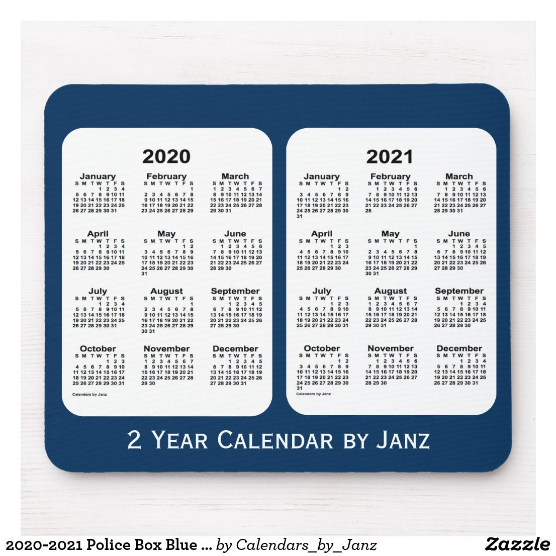 2020-2021 Police Box Blue 2 Year Calendar By Janz Mouse Pad
