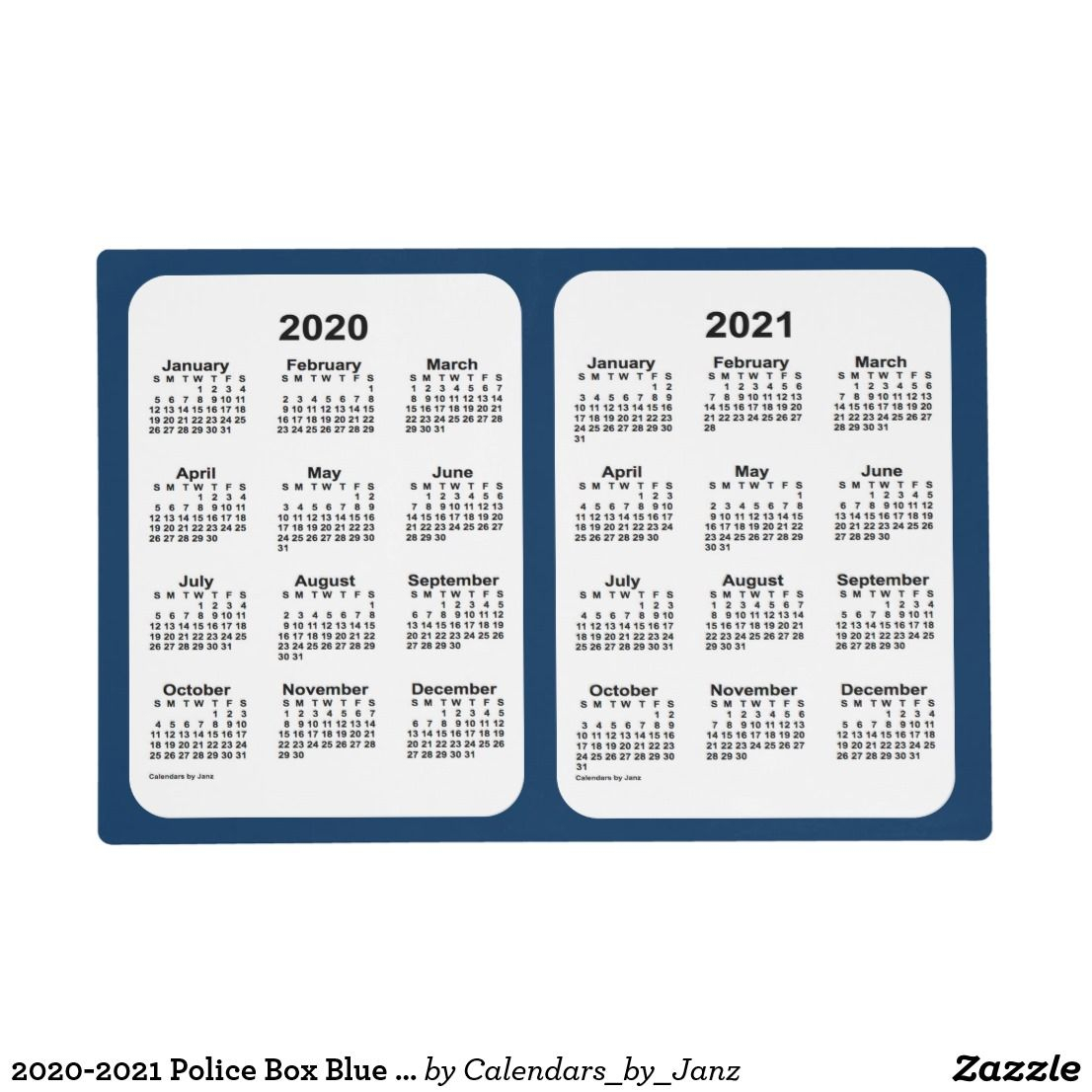 2020-2021 Police Box Blue 2 Year Calendar By Janz Placemat