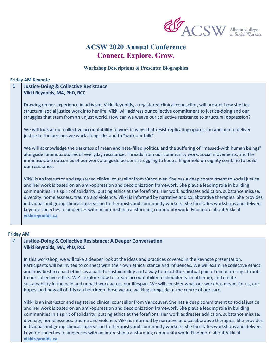 2020 Acsw Conference Workshop Descriptions & Presenter Bio's