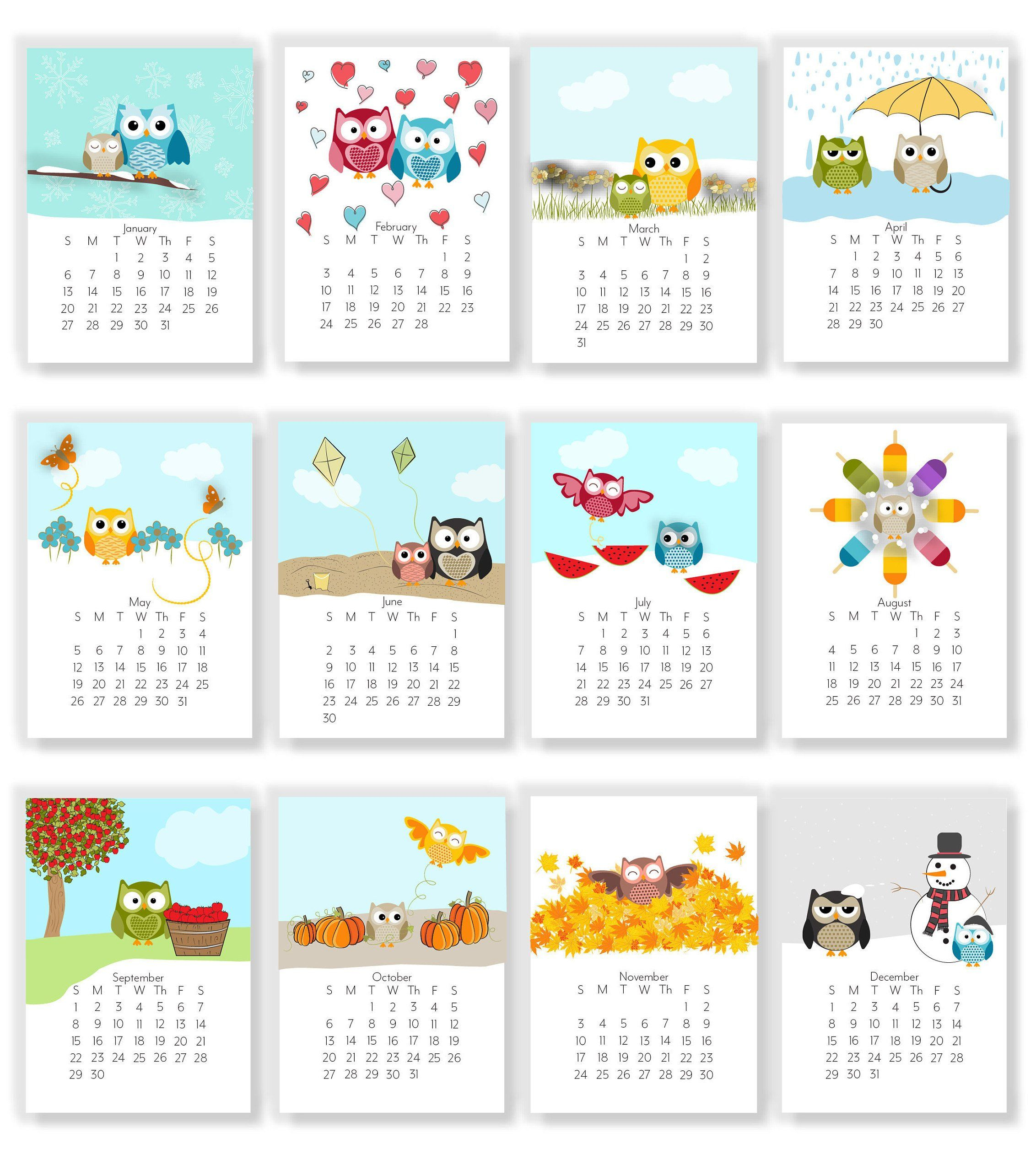 2020 Adorable Owl Monthly Calendars - Instant Download