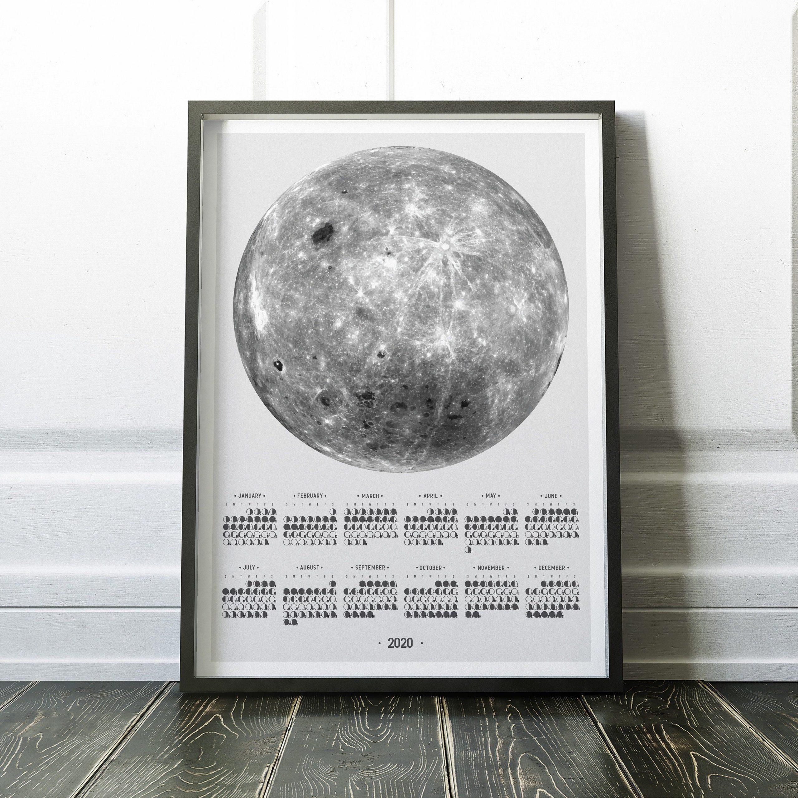2020 At A Glance Wall Calendar, Full Size Moon Calendar With
