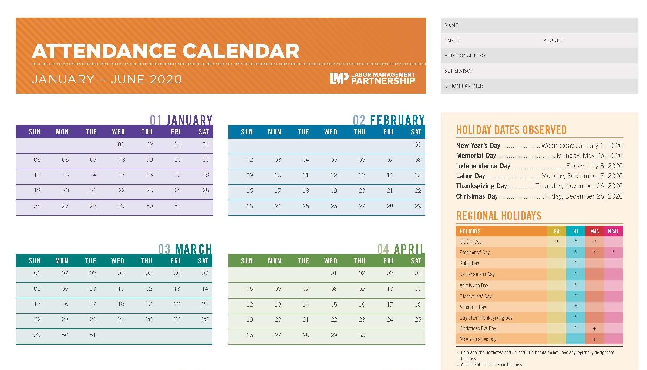 2020 Attendance Calendar | Labor Management Partnership