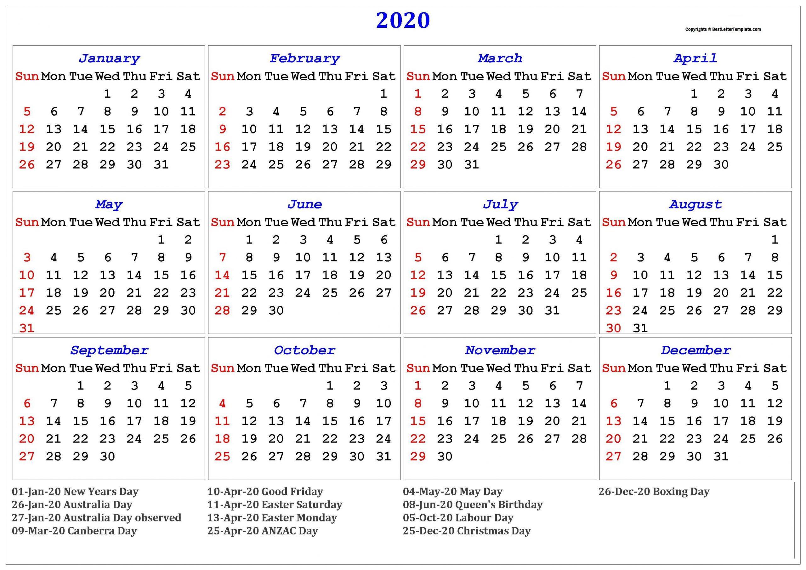 2020 Australia Calendar | Best Letter Template