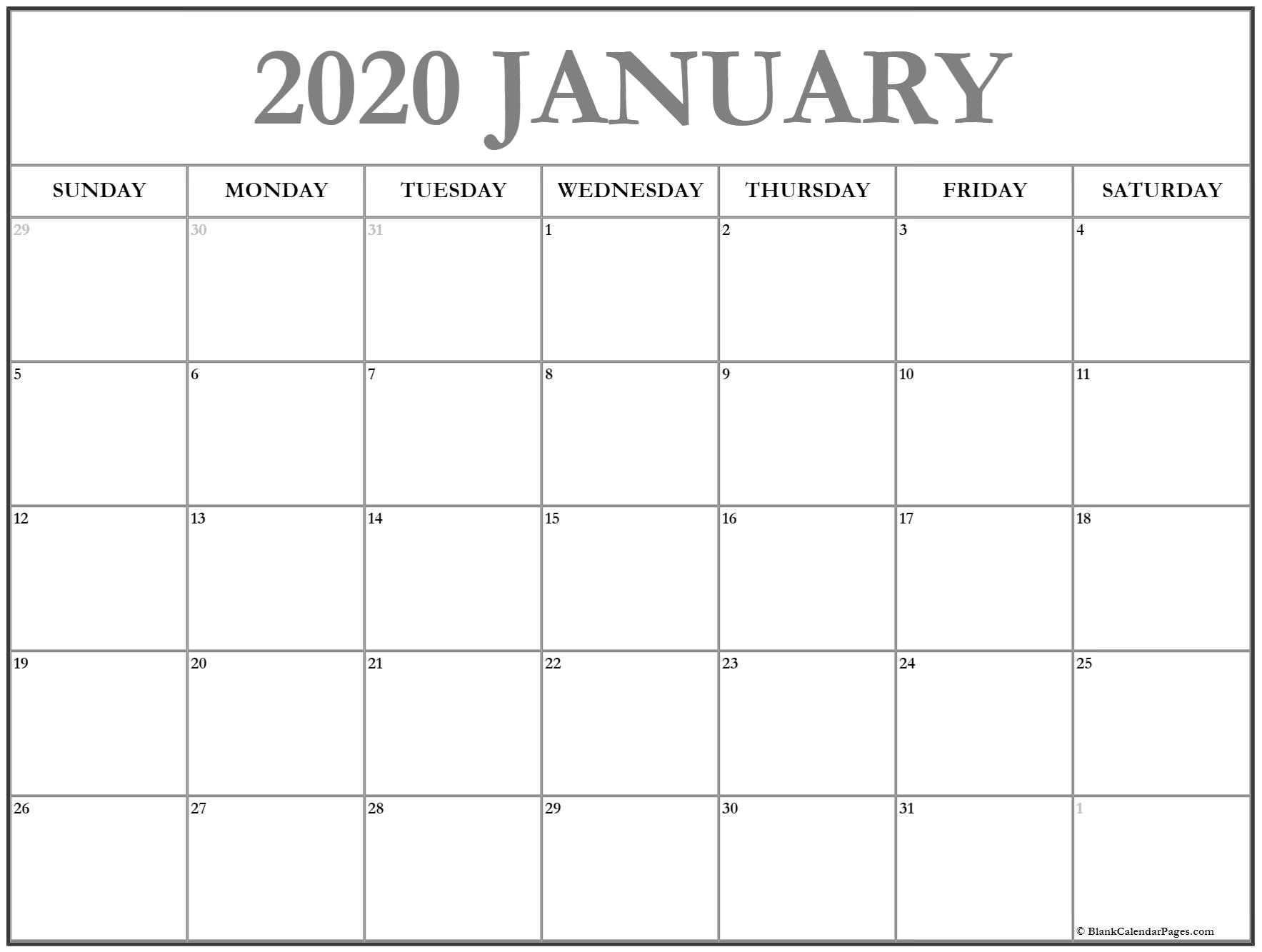 2020 Blank Calendar Pages - Togo.wpart.co