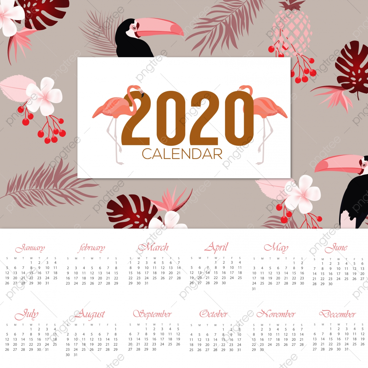 2020 Calendar Design, Calendar, Christmas, Illustration Png