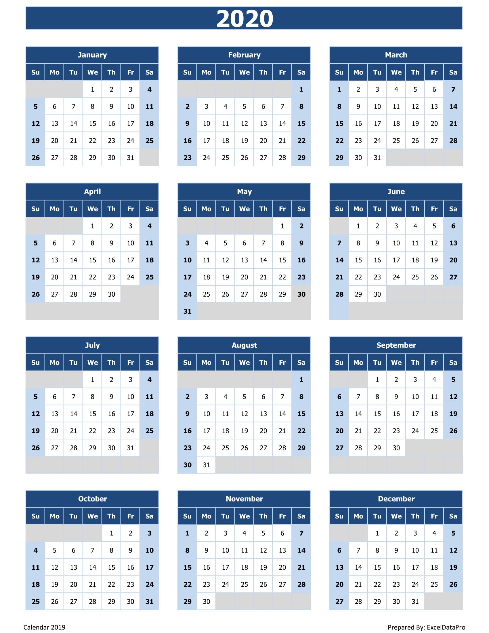 2020 Calendar Excel   Calendar Printable Free
