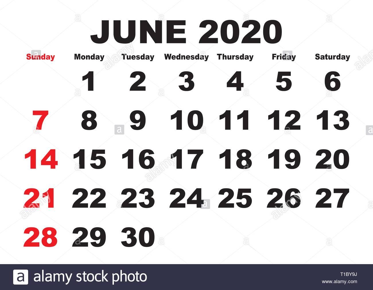 2020 Calendar June Month. Vector Printable Calendar. Monthly
