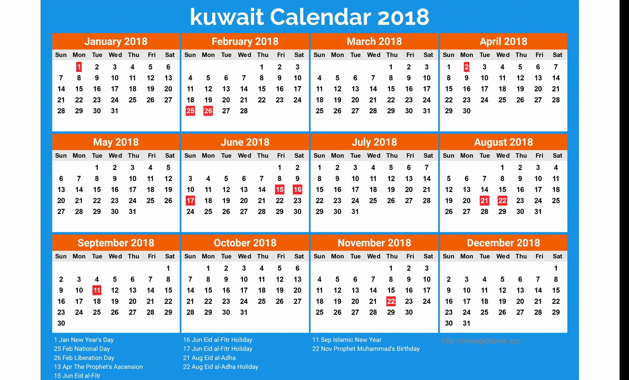 2020 Calendar Kuwait | Calendar Template Printable