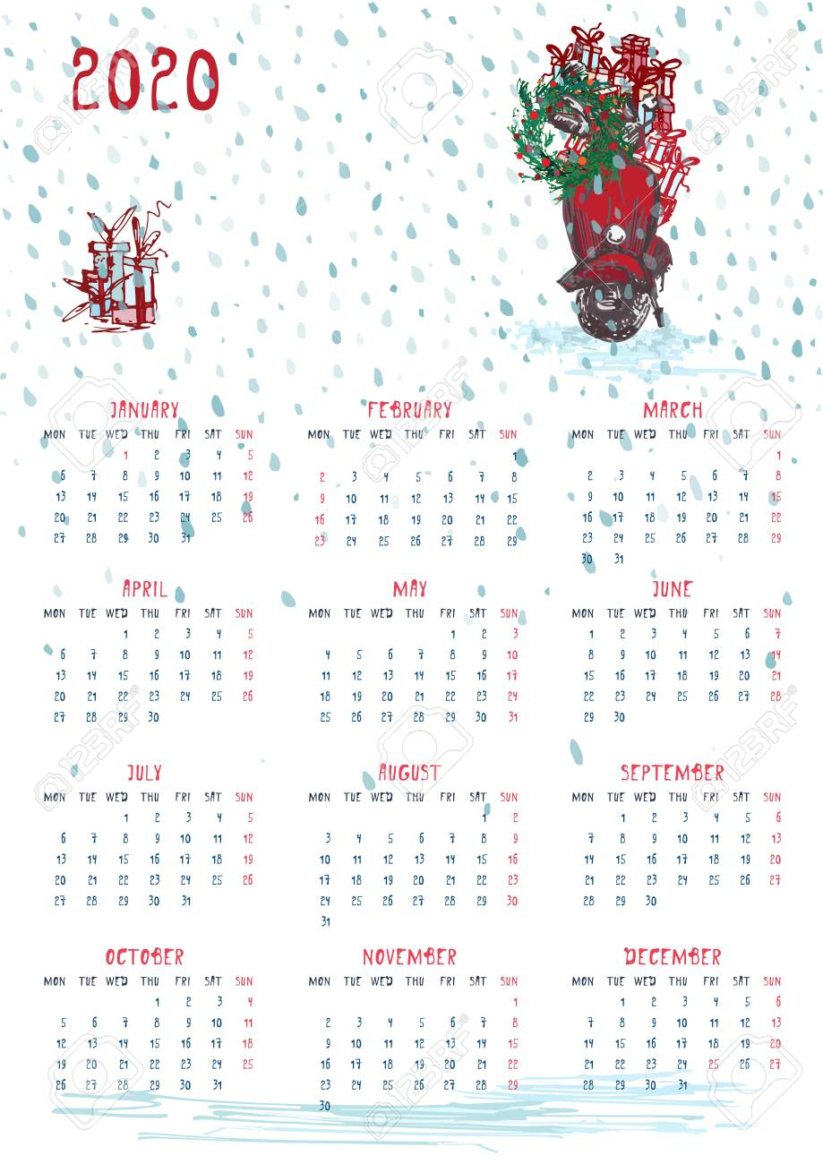 2020 Calendar Planner Whith Red Christmas Car, New Year Tree..