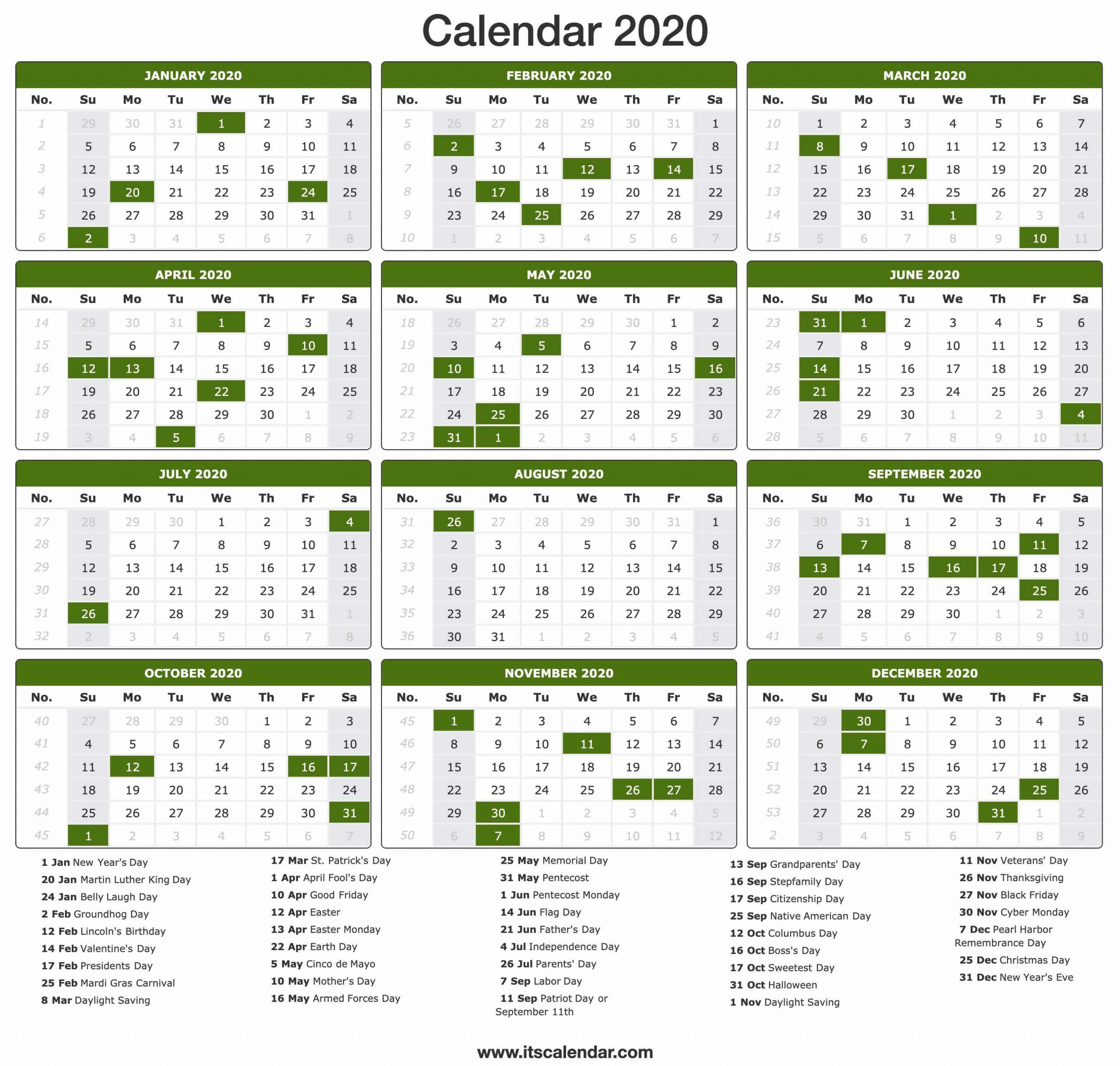 2020 Calendar | Printable 2020 Calendar