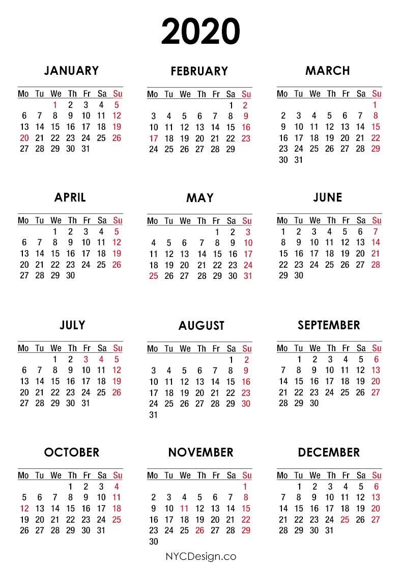 2020 Calendar Printable Free, Calendar With Us Holidays