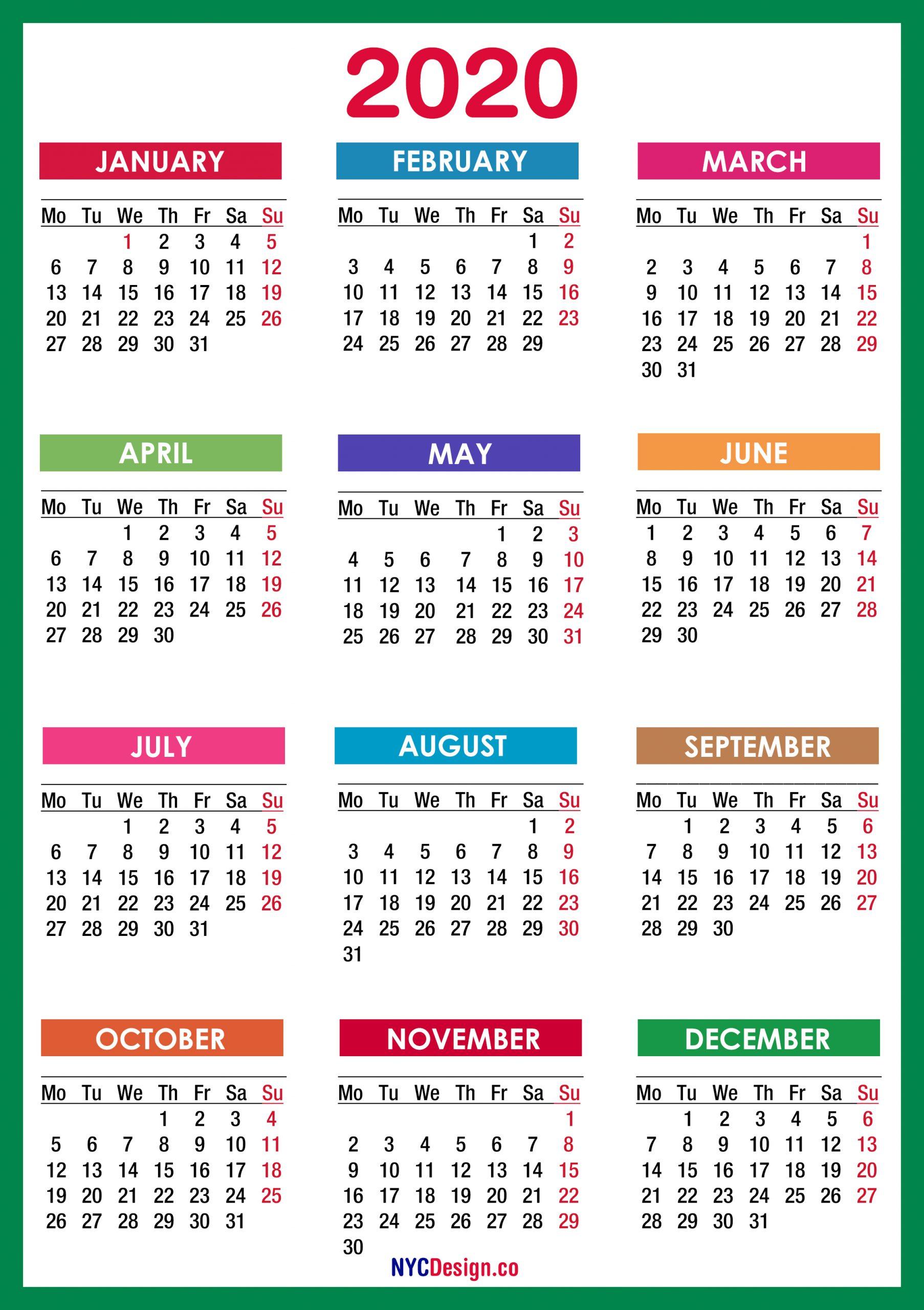 2020 Calendar Printable Free, Pdf, Colorful, Blue, Green