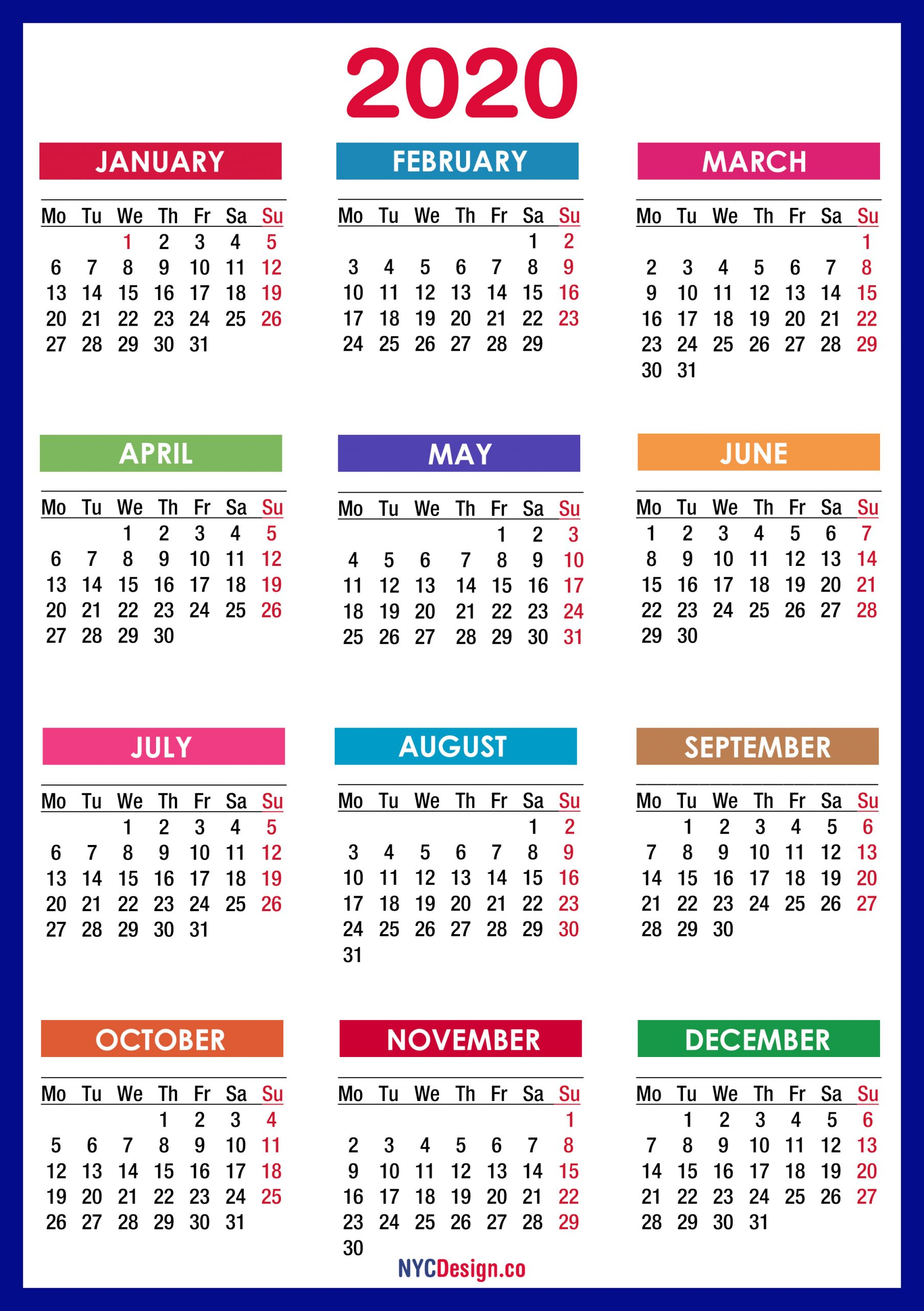 2020 Calendar Printable Free, Pdf, Colorful, Blue, Green