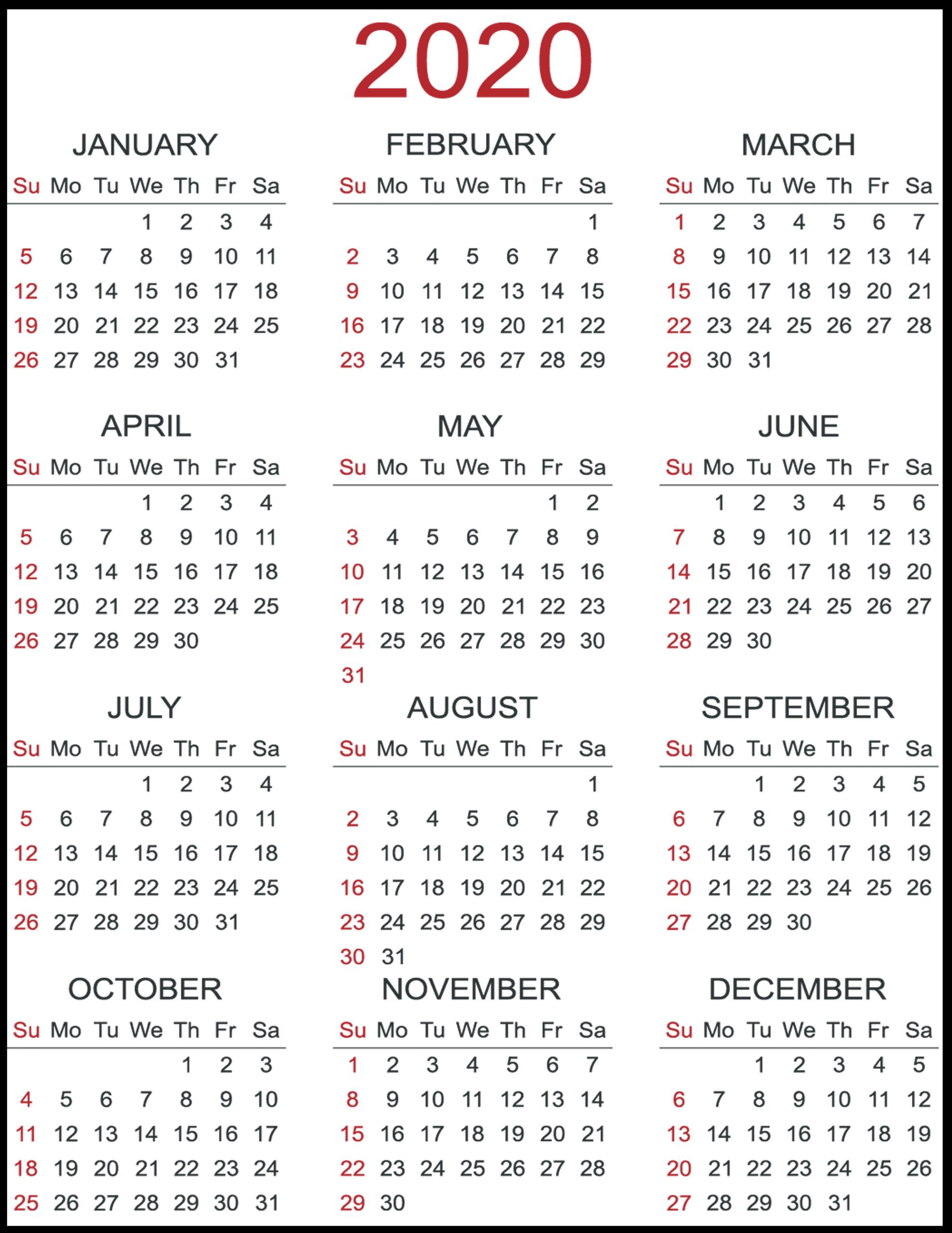 2020 Calendar Printable Free - Togo.wpart.co