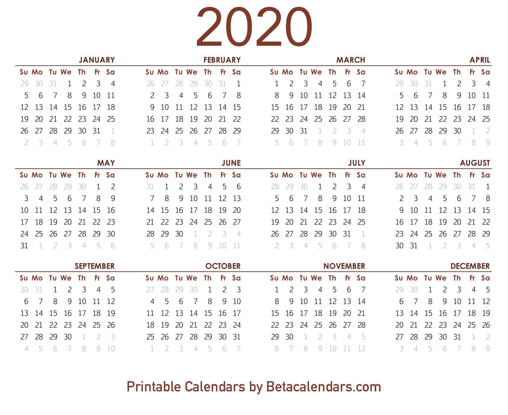 Take 2020 Calendar Printable