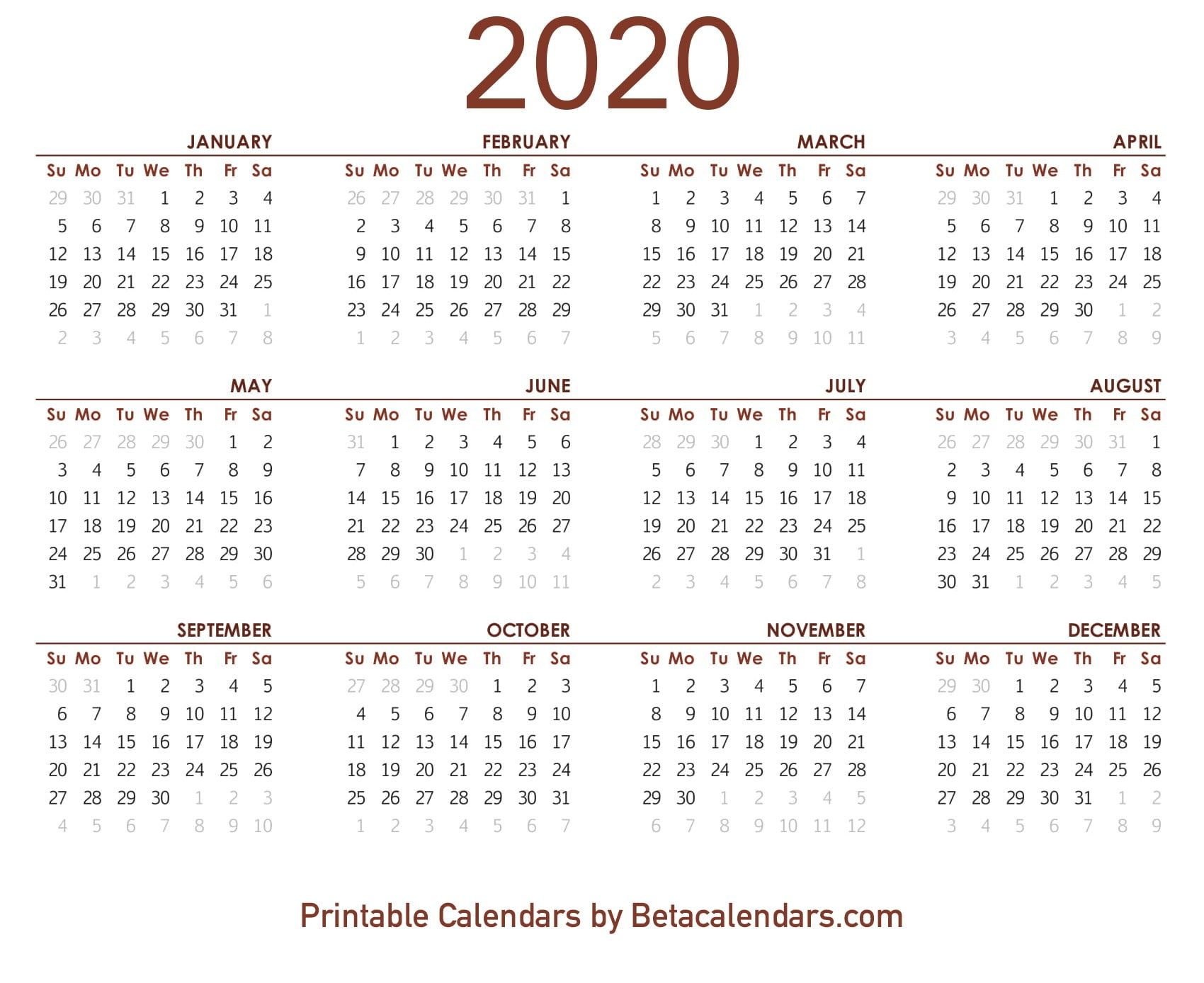 2020 Calendar Printable | Printable Yearly Calendar, Free