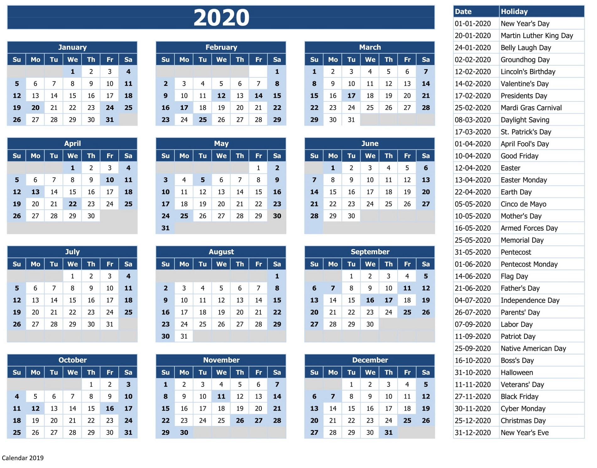 2020 Calendar Printable With Holidays And Notes | Calendar