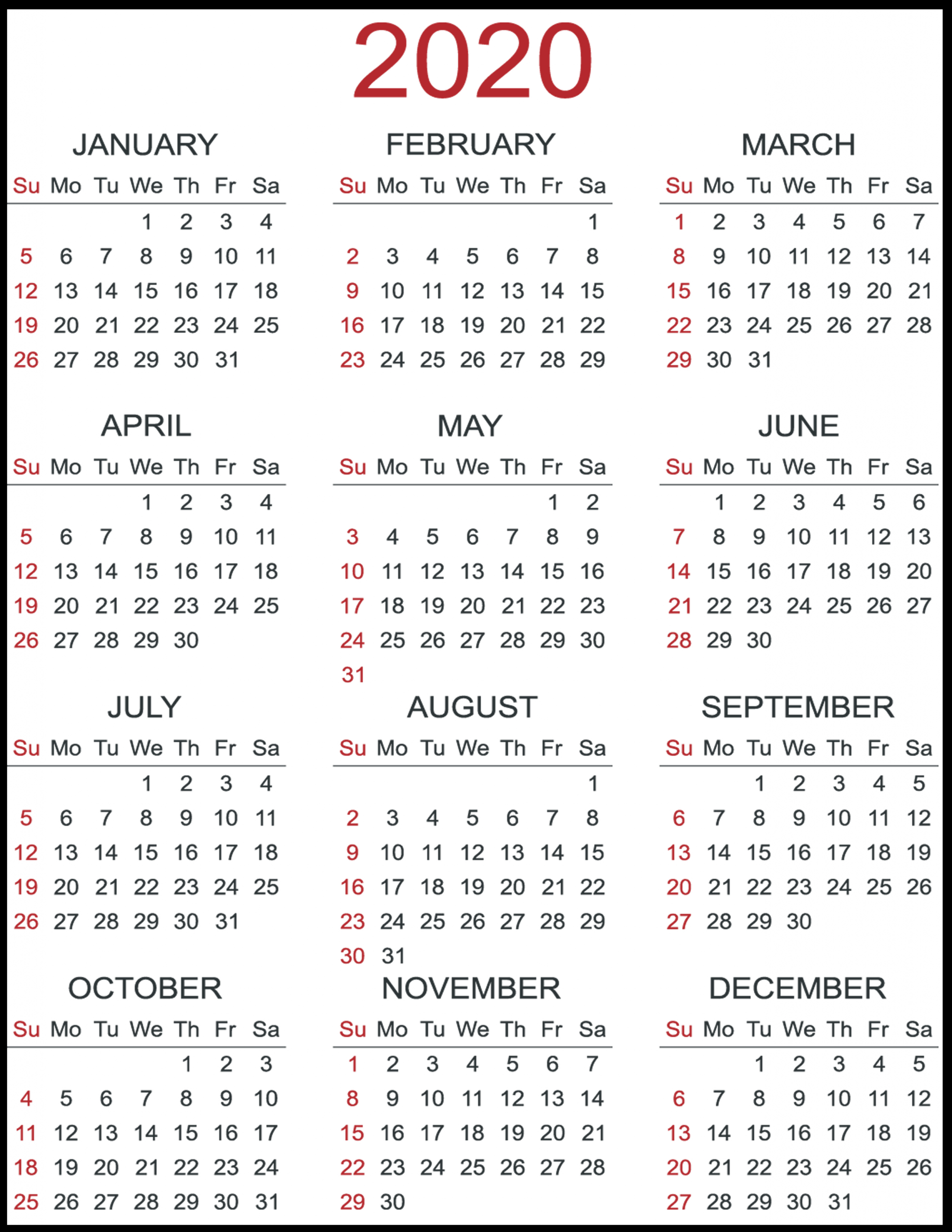 2020 Calendar Printable Yearly - Togo.wpart.co
