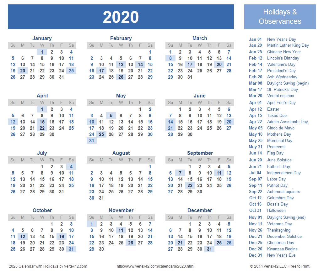 2020 Calendar Prints For Planning! | 2018 Calendar Template