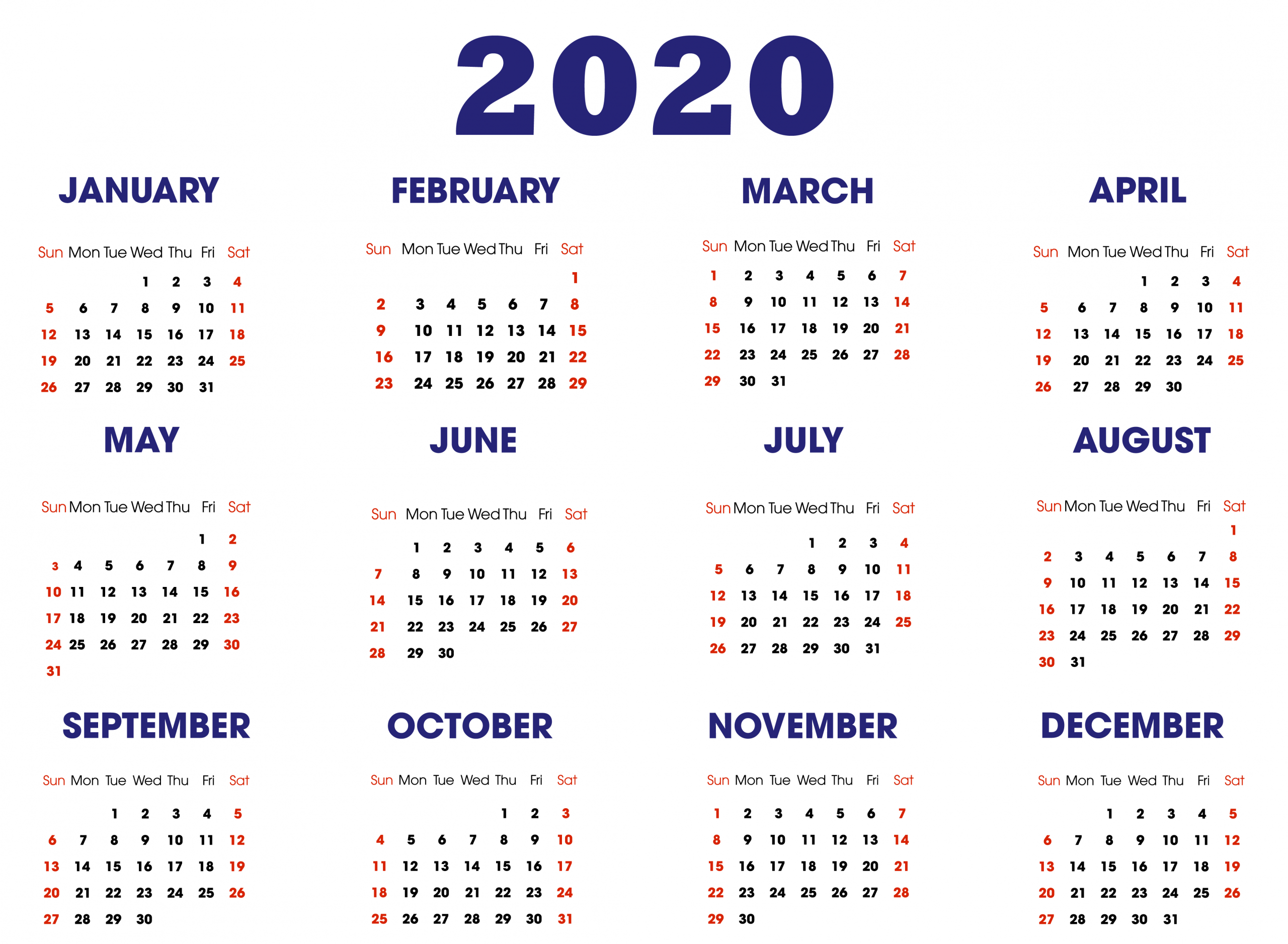 2020 Calendar Template | 2020 Calendar Template, Yearly