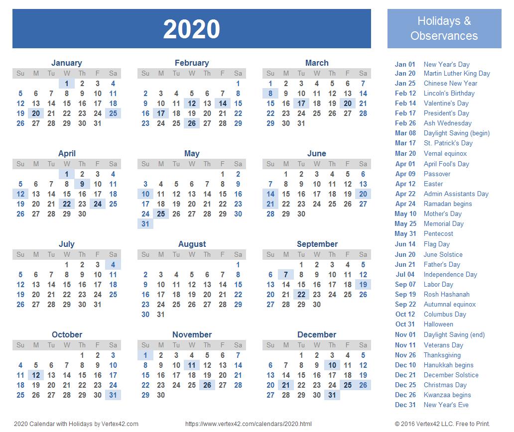 2020 Calendar Template Excel   Calendar Printable Free