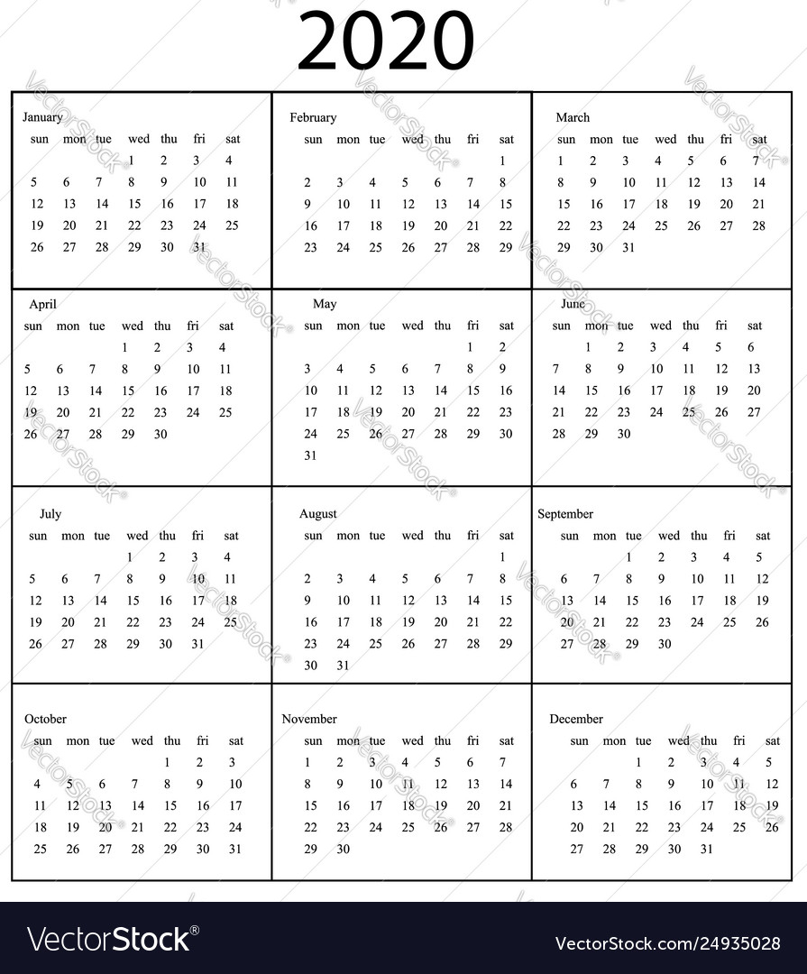2020 Calendar Template Starts Sunday Year