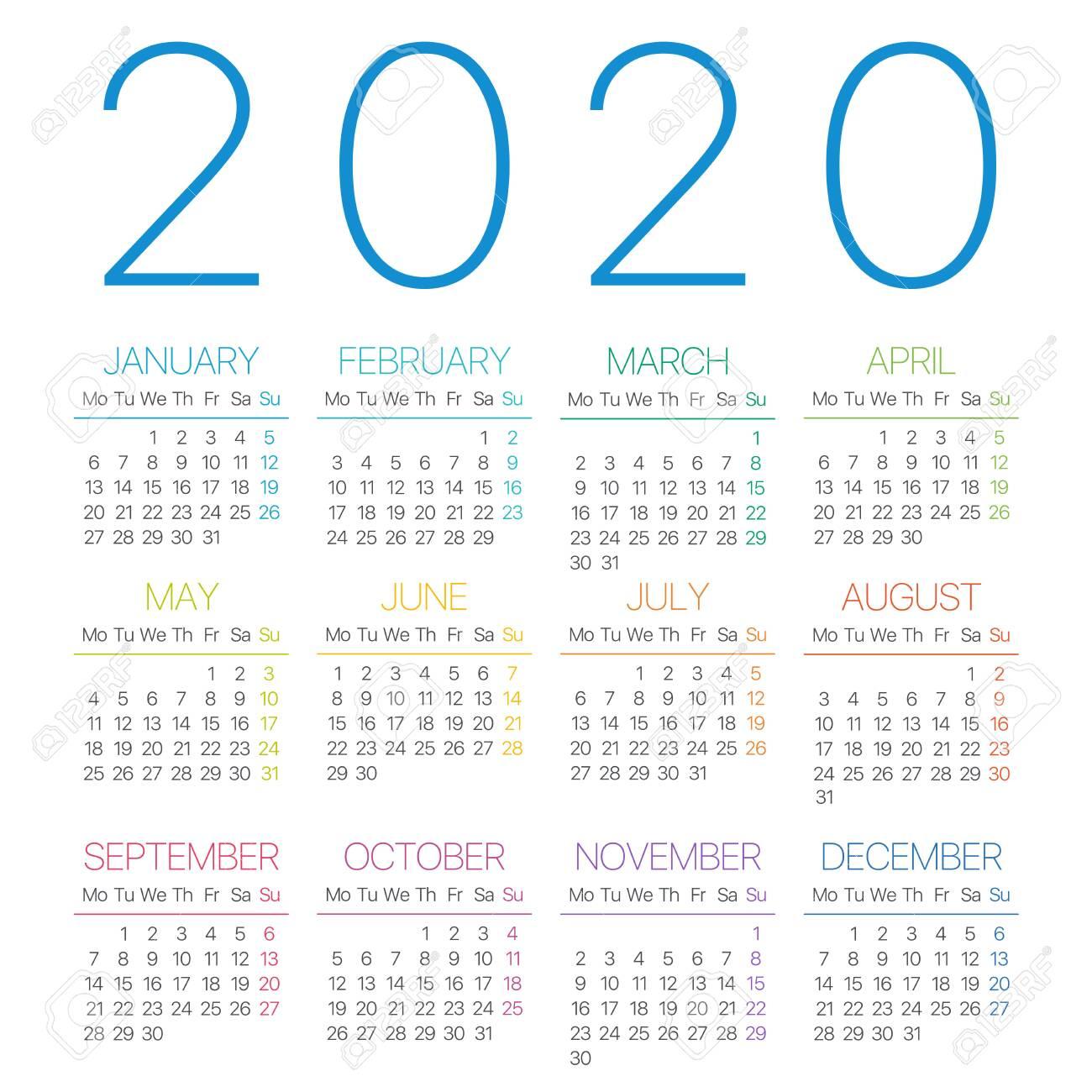 2020 Calendar Thin Line - Monday To Sunday - Vector Template
