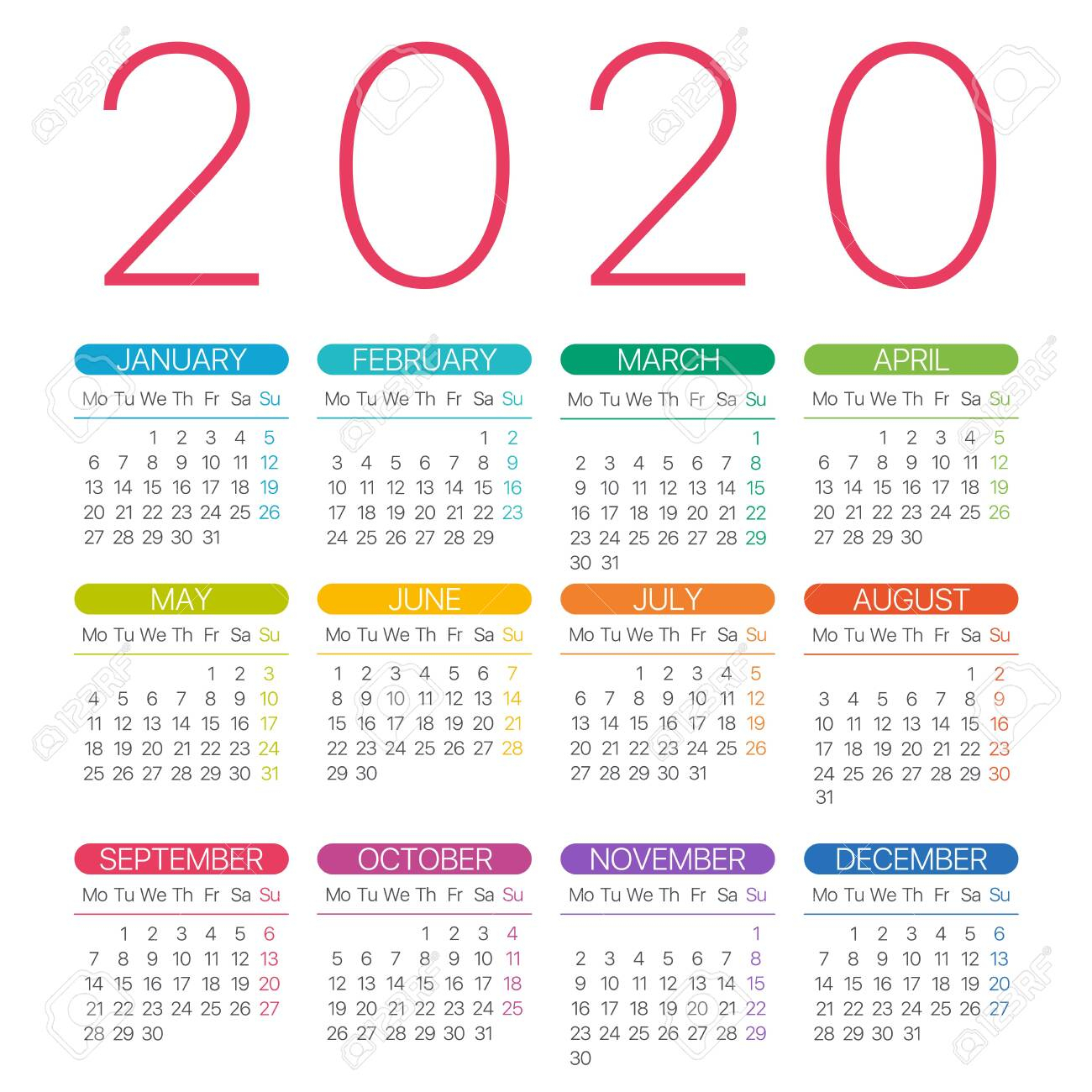 2020 Calendar Thin Line - Monday To Sunday - Vector Template