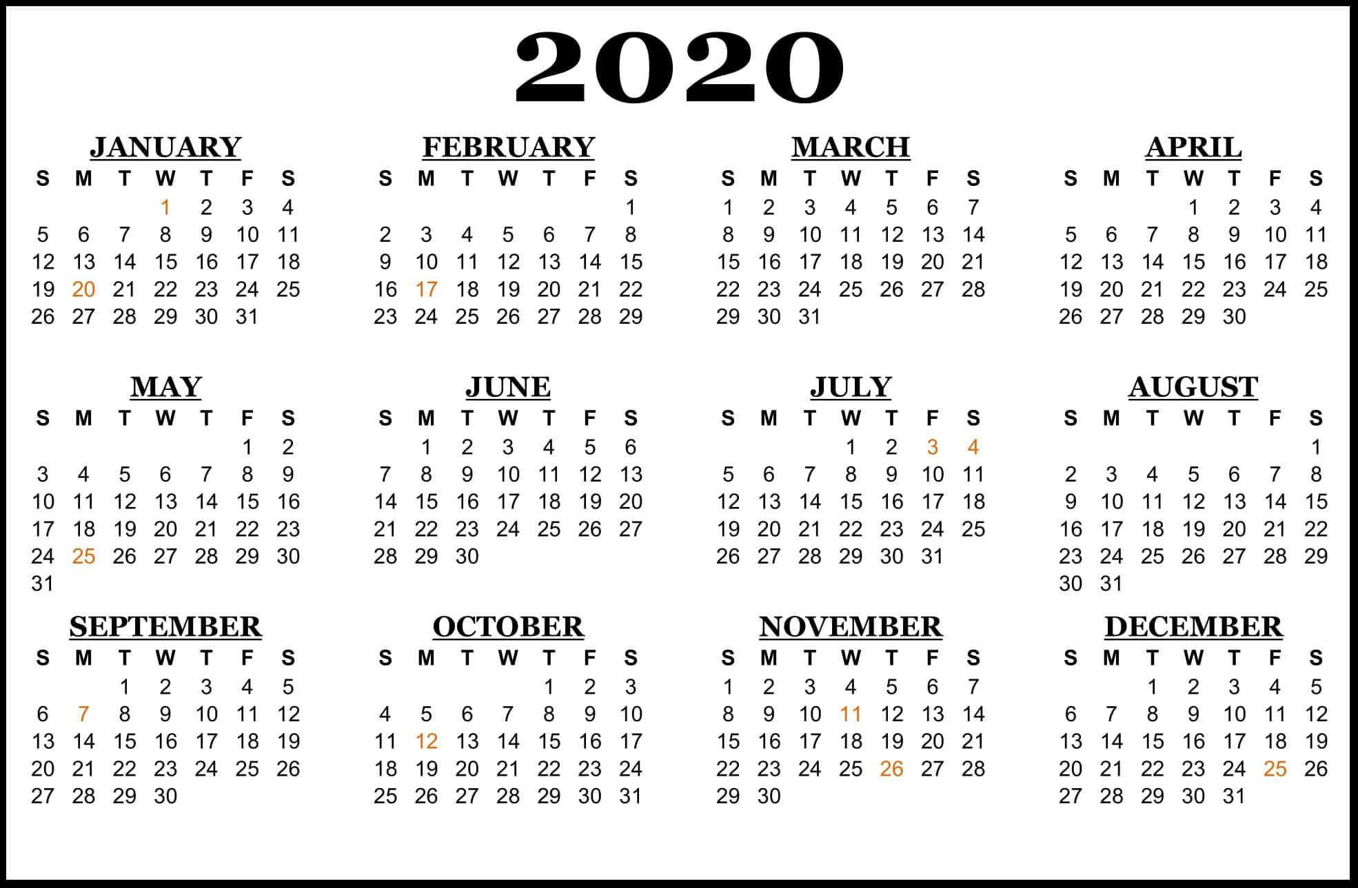 2020-Calendar-Us-Holidays | Printable Template Calendar