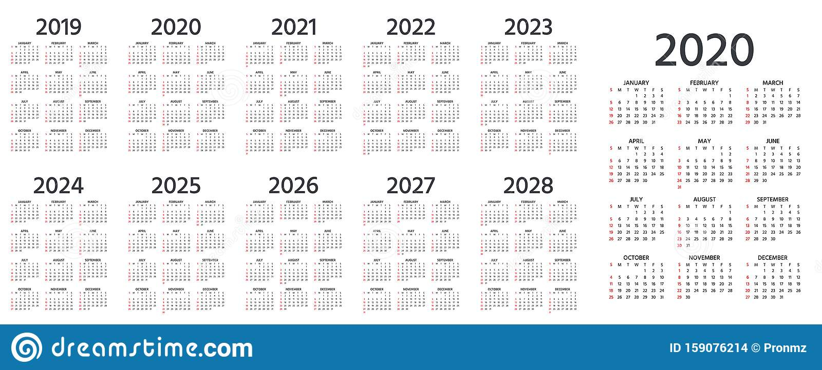 2020 Calendar. Vector Illustration. Template Year Pocket