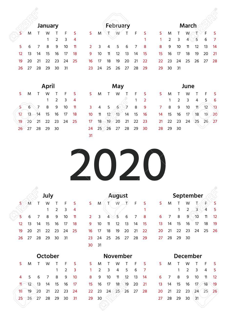 2020 Calendar. Vector. Stationery 2020 Year Vertical Template..