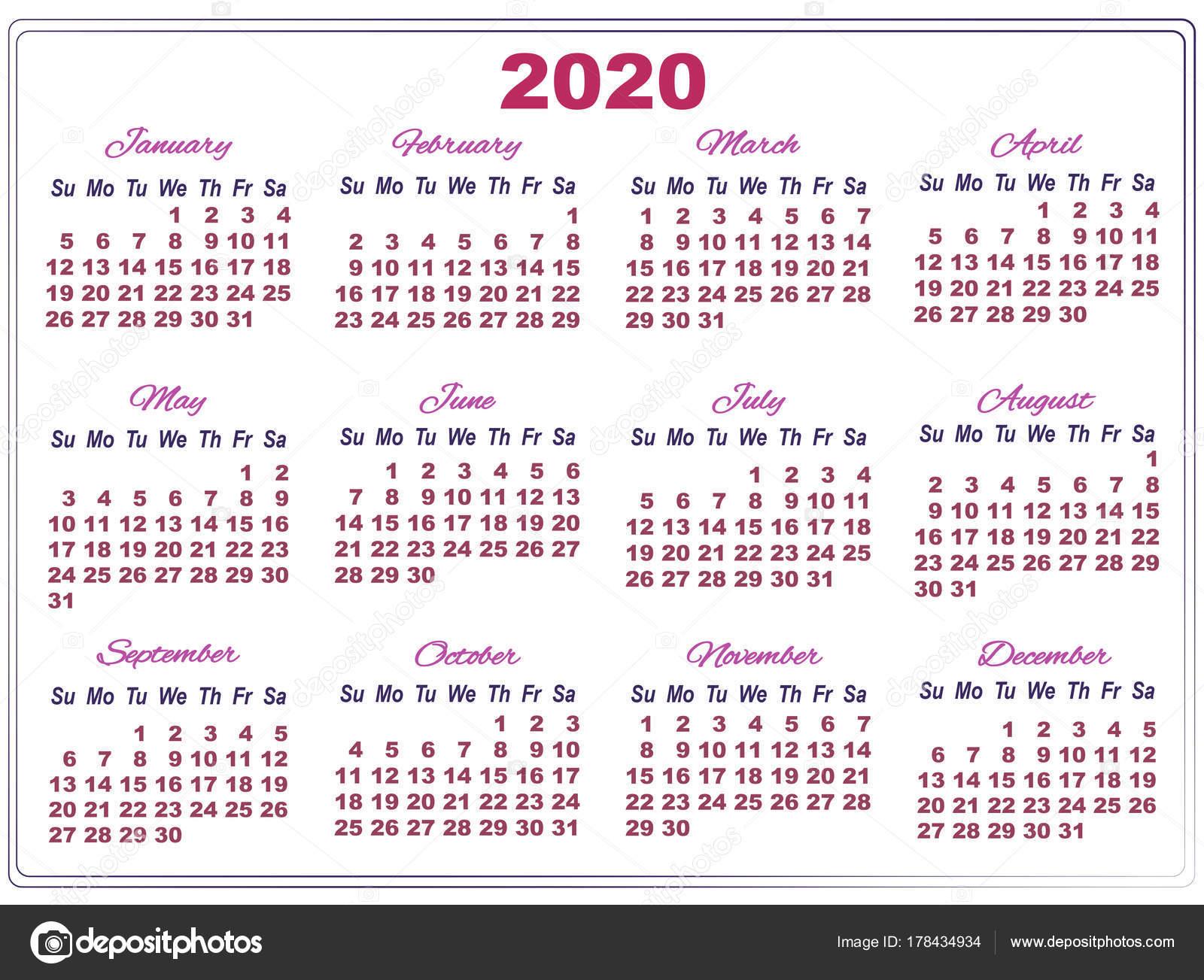 2020 Calendar With Big Numbers — Stock Vector © Sunfunjen